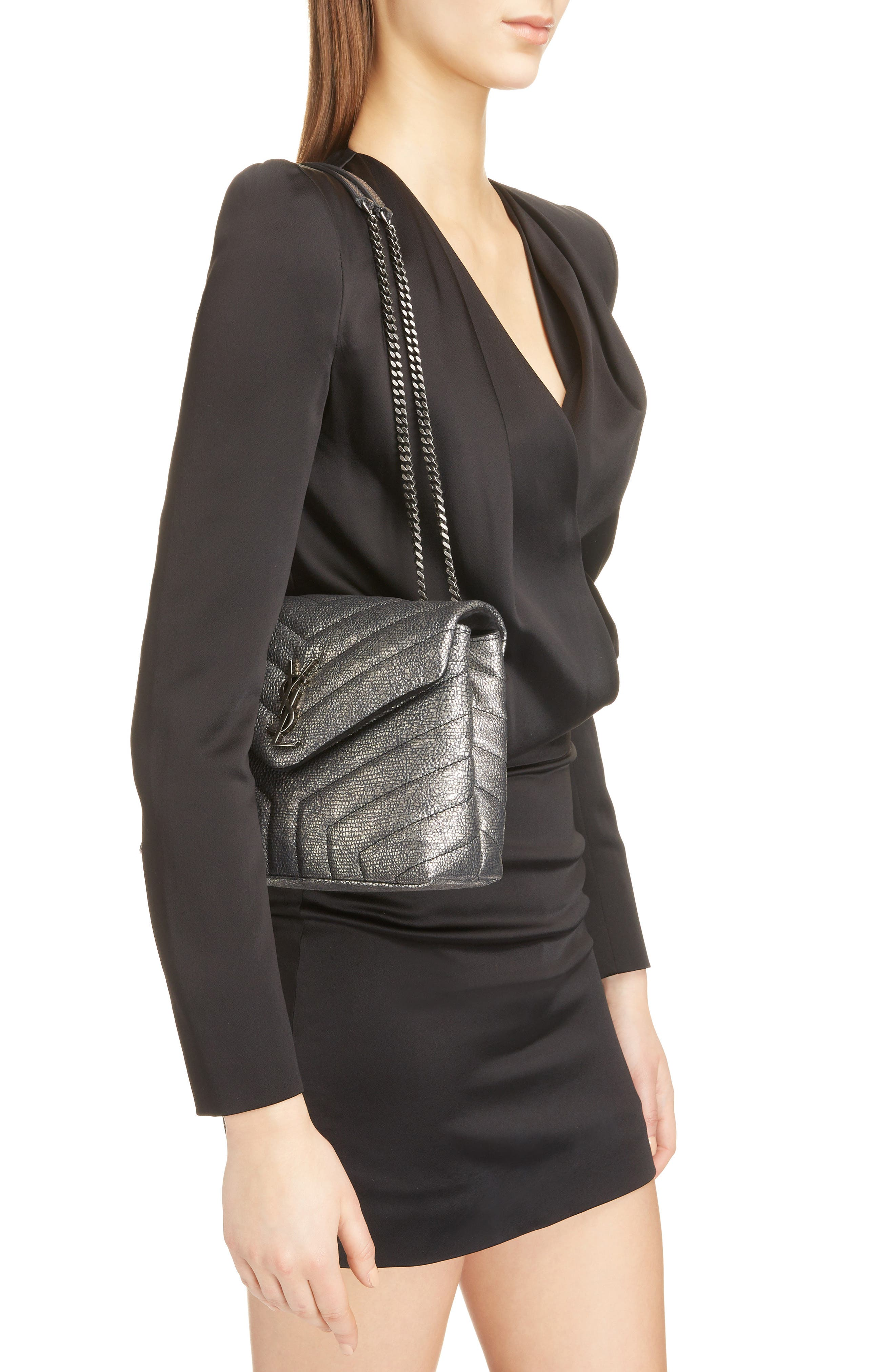 Loulou Small Metallic Leather Shoulder Bag,                             Alternate thumbnail 2, color,                             Graphtie