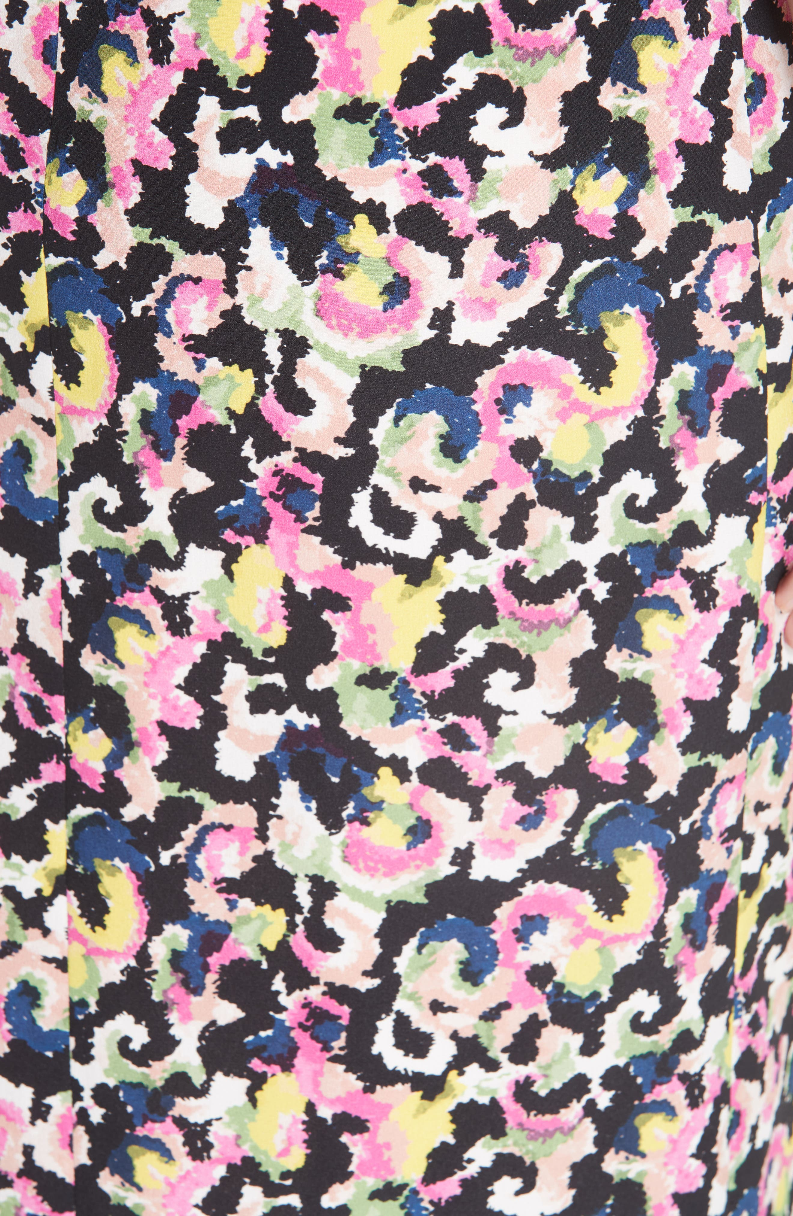 Grace Print Silk Off the Shoulder Dress,                             Alternate thumbnail 5, color,                             Hothouse Mirage