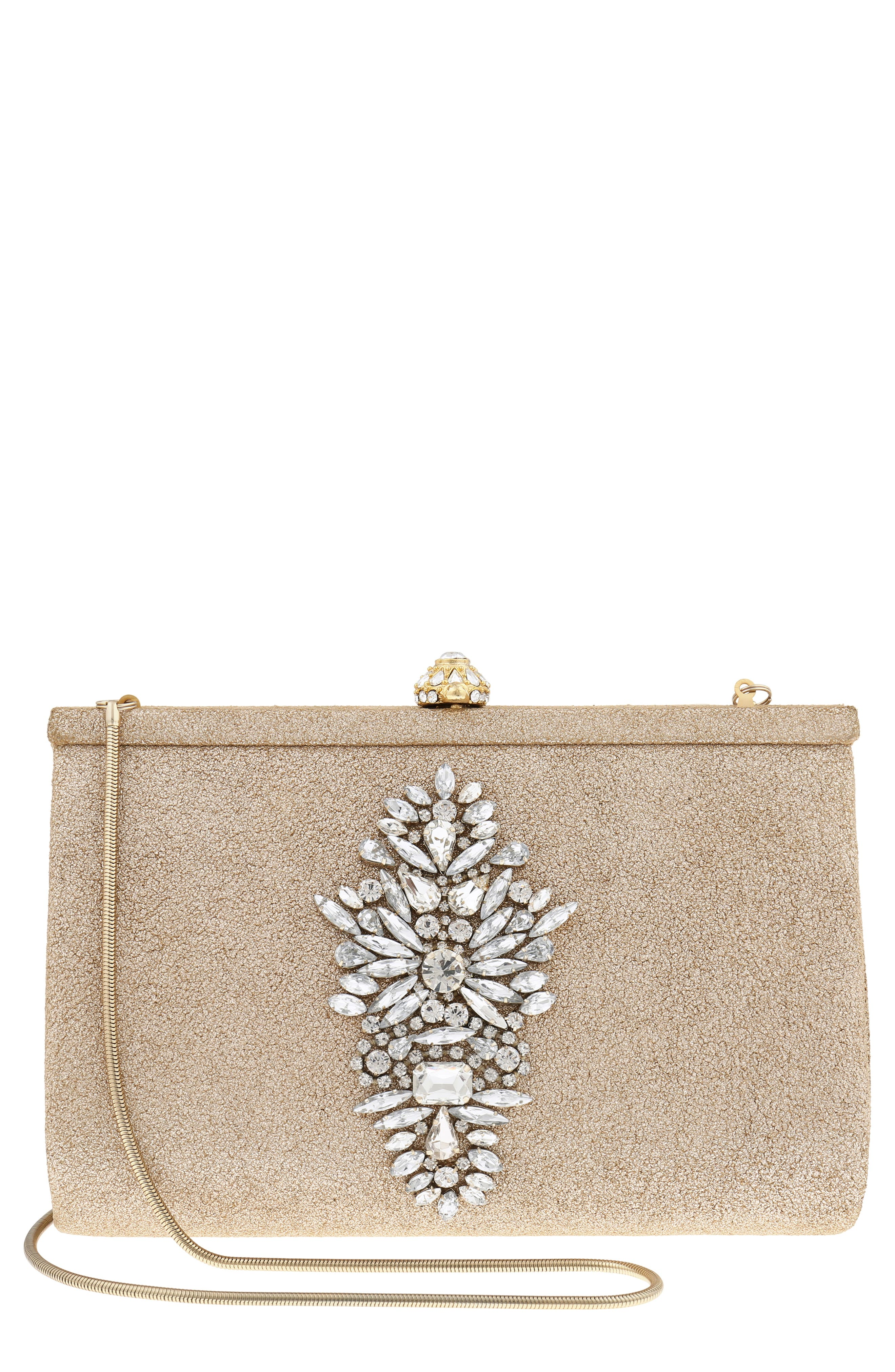 Galaxy Embellished Clutch,                         Main,                         color, Platino