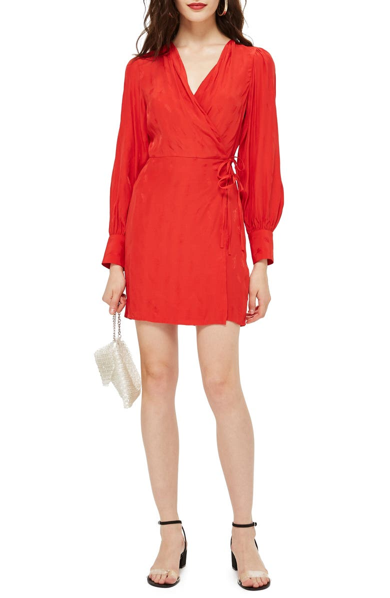 Feather Jacquard Wrap Dress