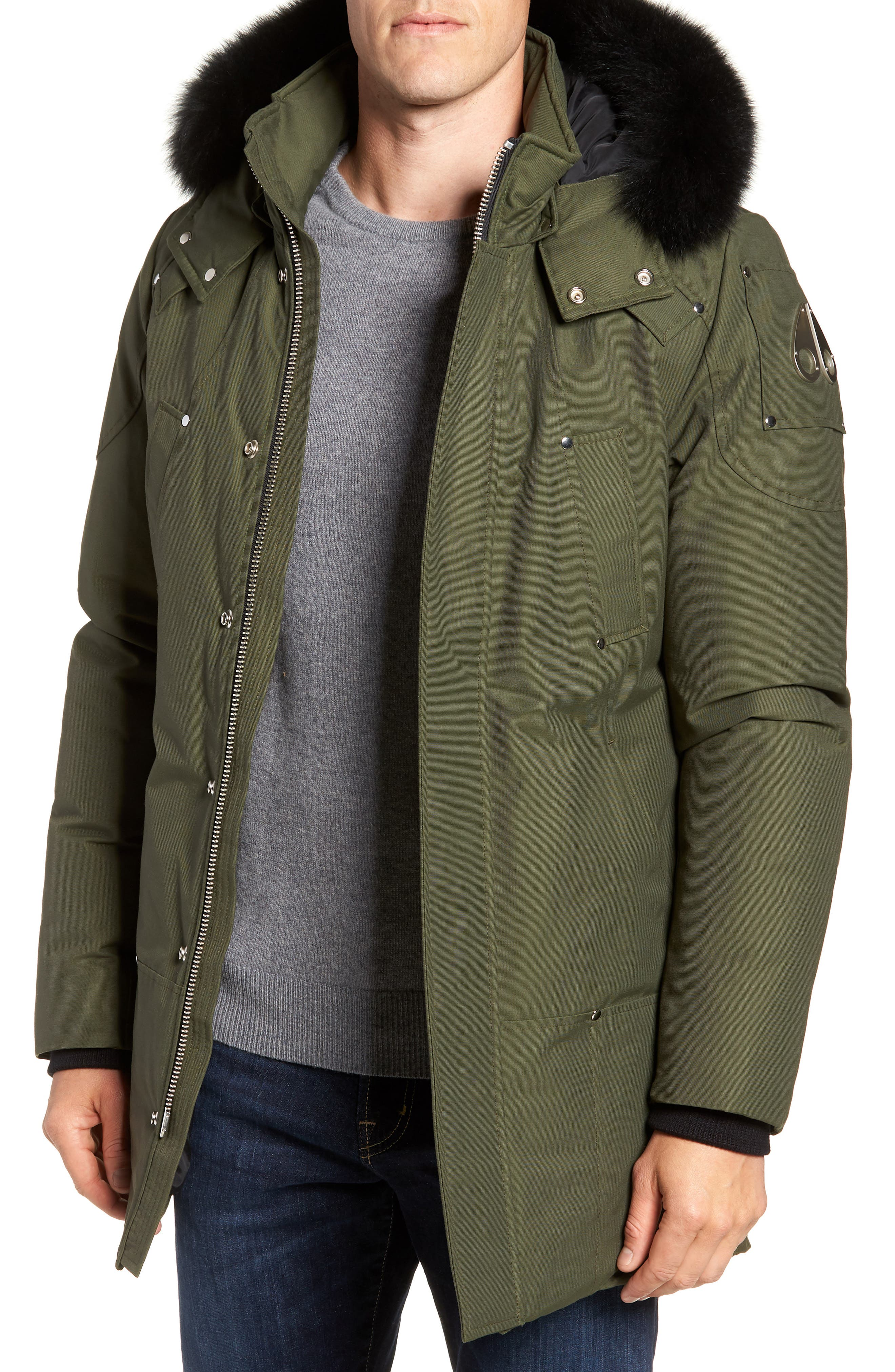 Stirling Water Repellent Down Parka with Genuine Fox Fur Trim,                         Main,                         color, Army/ Black Fox