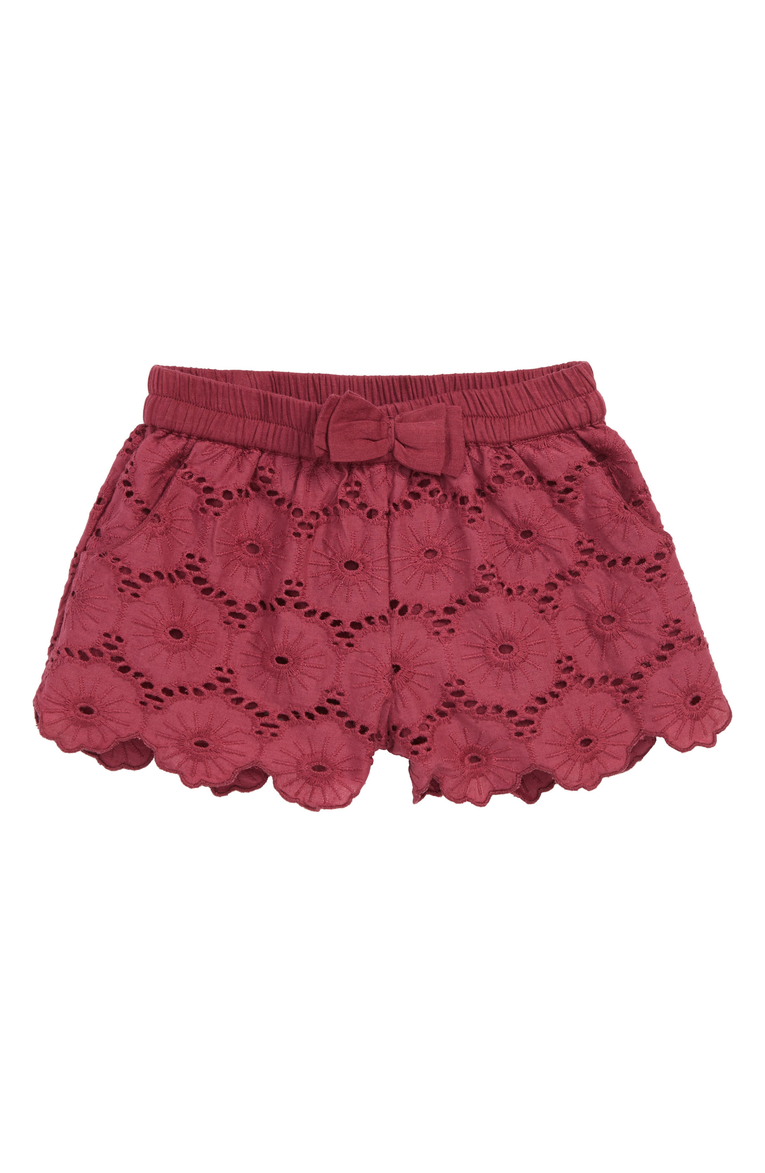 Christy Eyelet Embroidered Shorts,                             Main thumbnail 1, color,                             Maroon