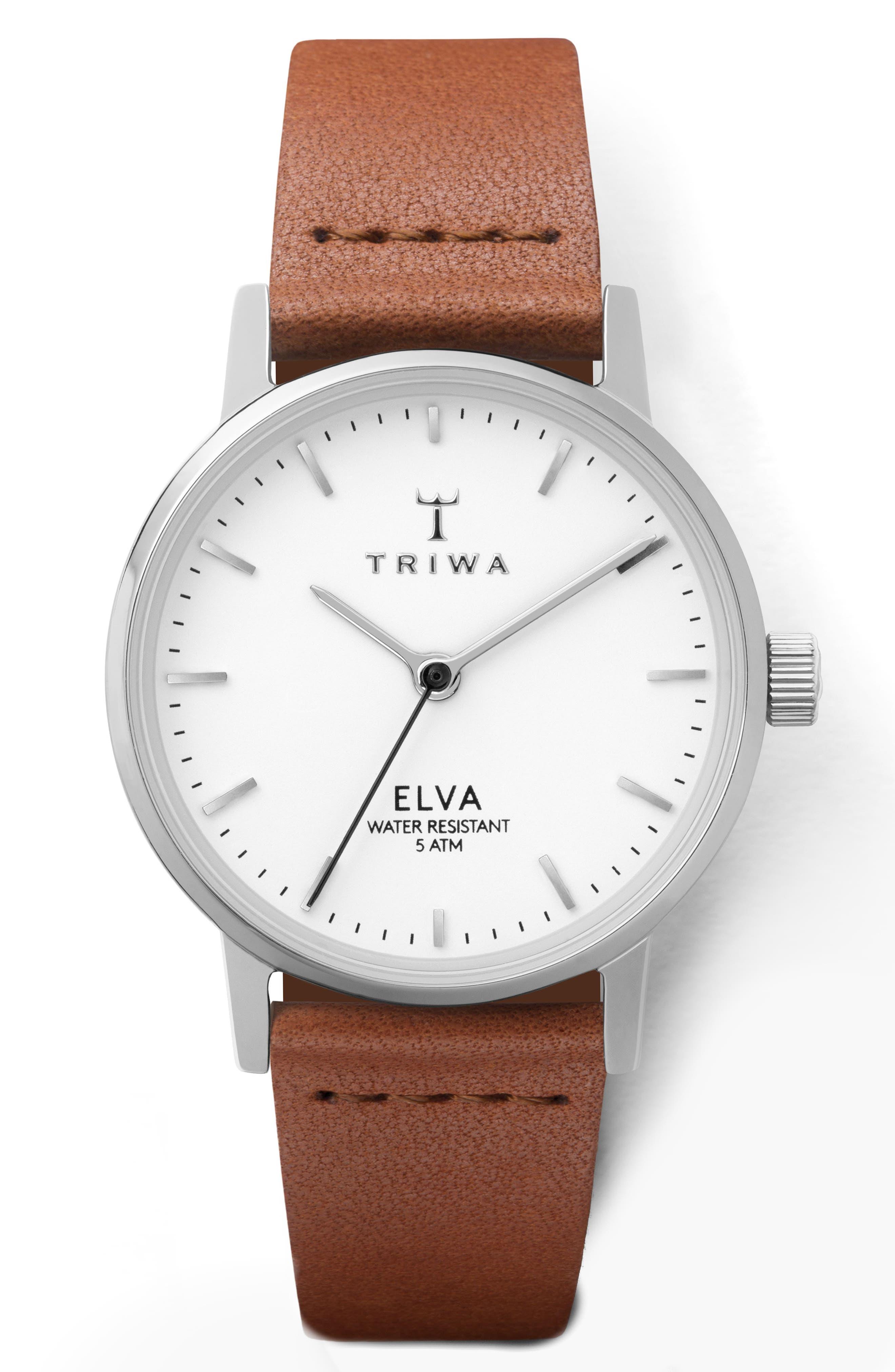TRIWA PEARL ELVA LEATHER STRAP WATCH, 28MM