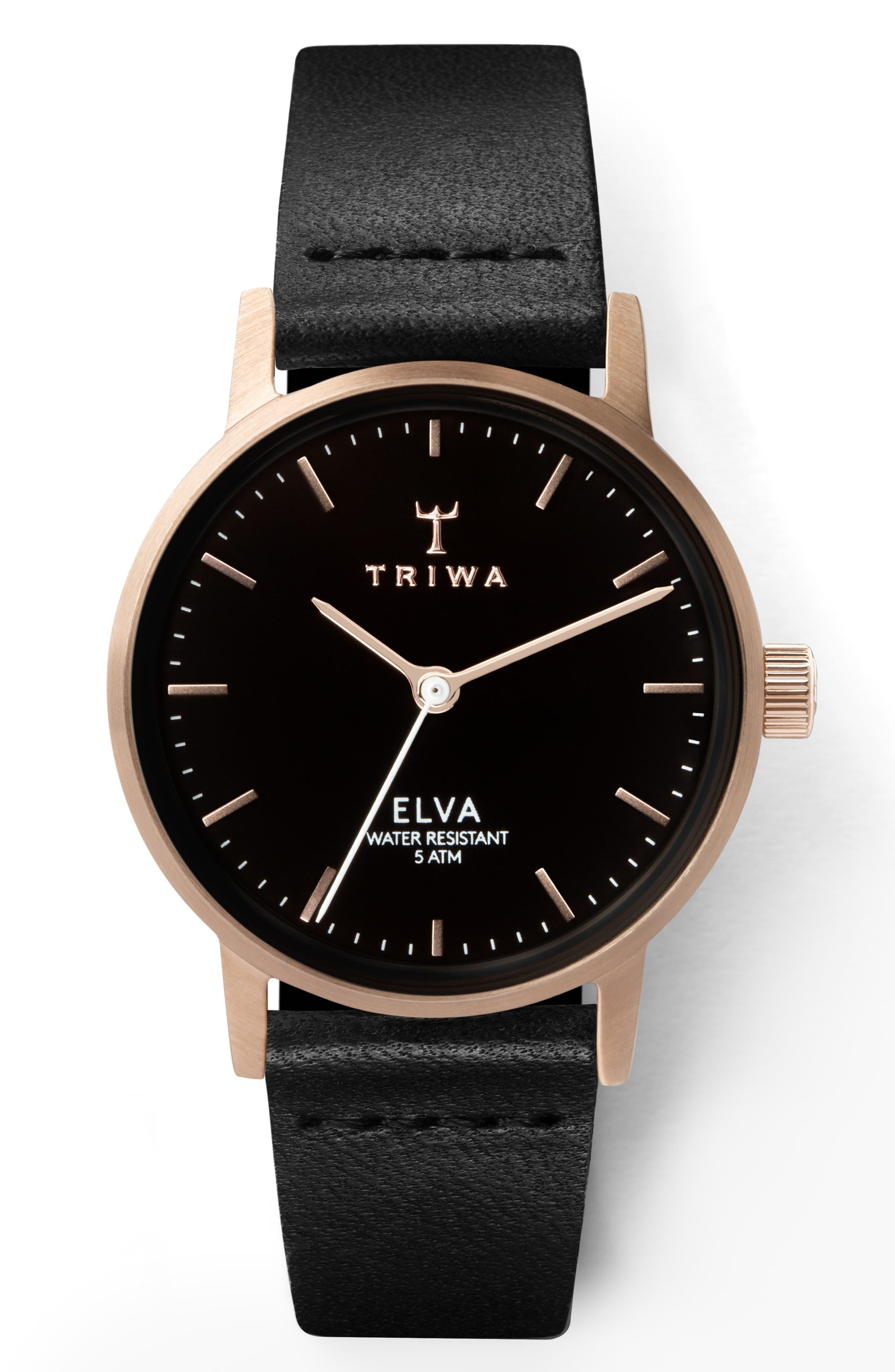 TRIWA ELVA LEATHER STRAP WATCH, 28MM