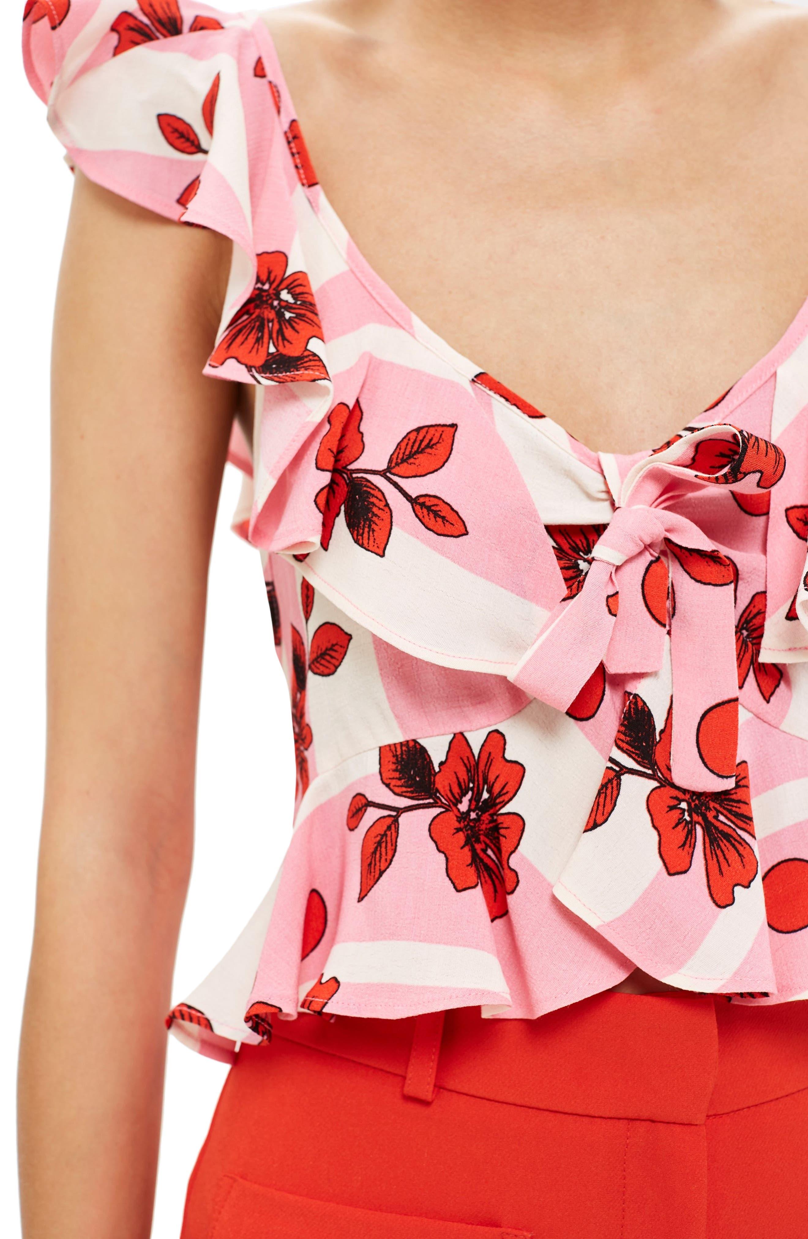Brigitte Floral Suntop,                             Alternate thumbnail 4, color,                             Pink