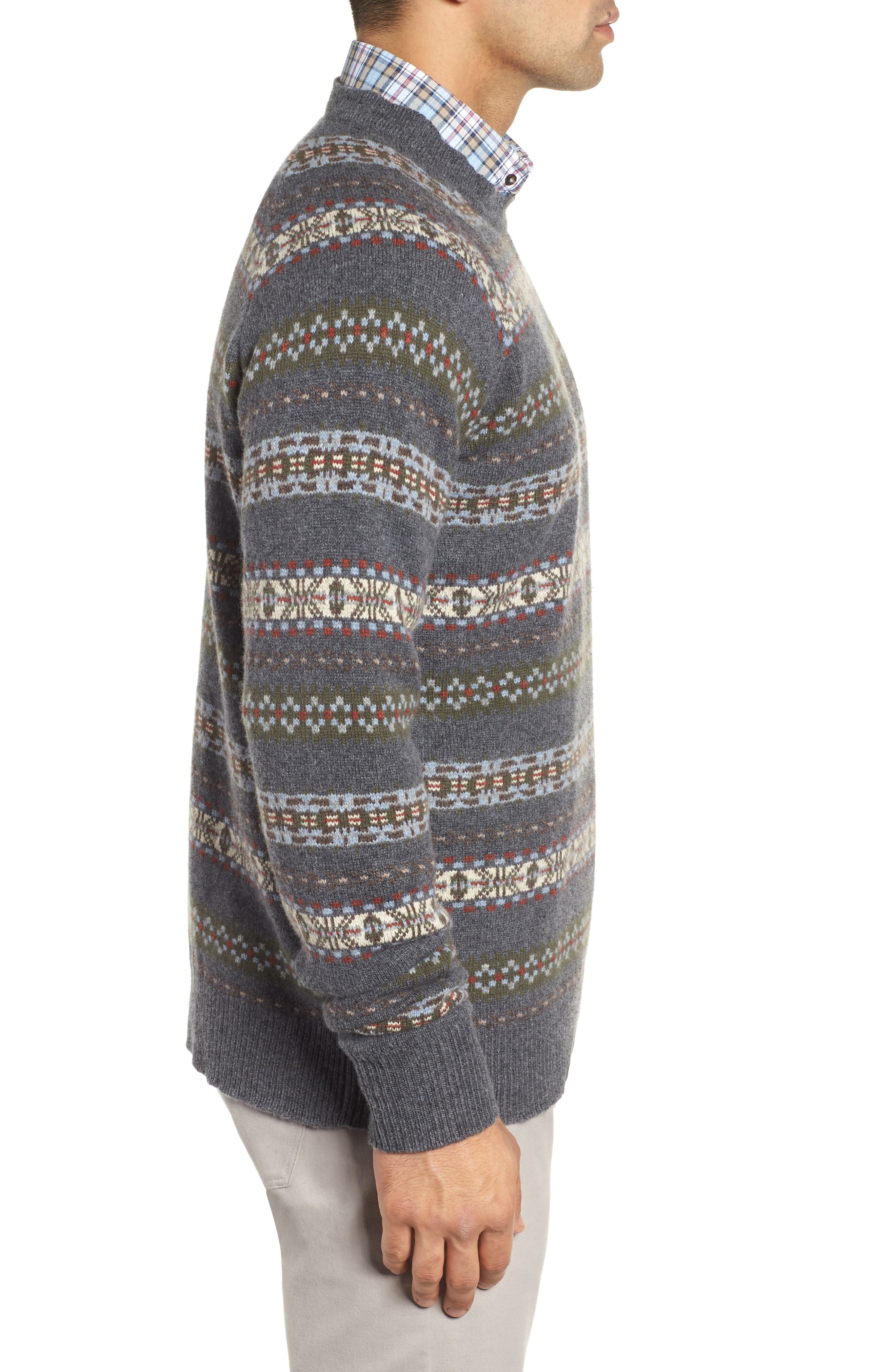 Mountainside Fair Isle Crewneck Sweater,                             Alternate thumbnail 5, color,                             Black