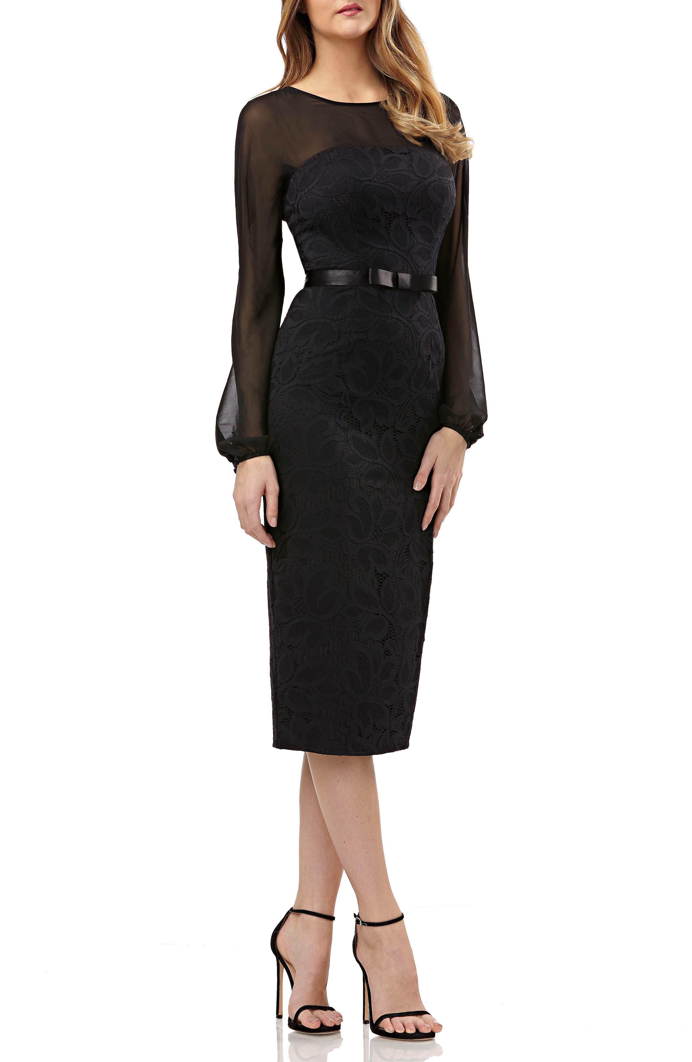 KAY UNGER LONG-SLEEVE BELTED DRESS IN LACE & CHIFFON