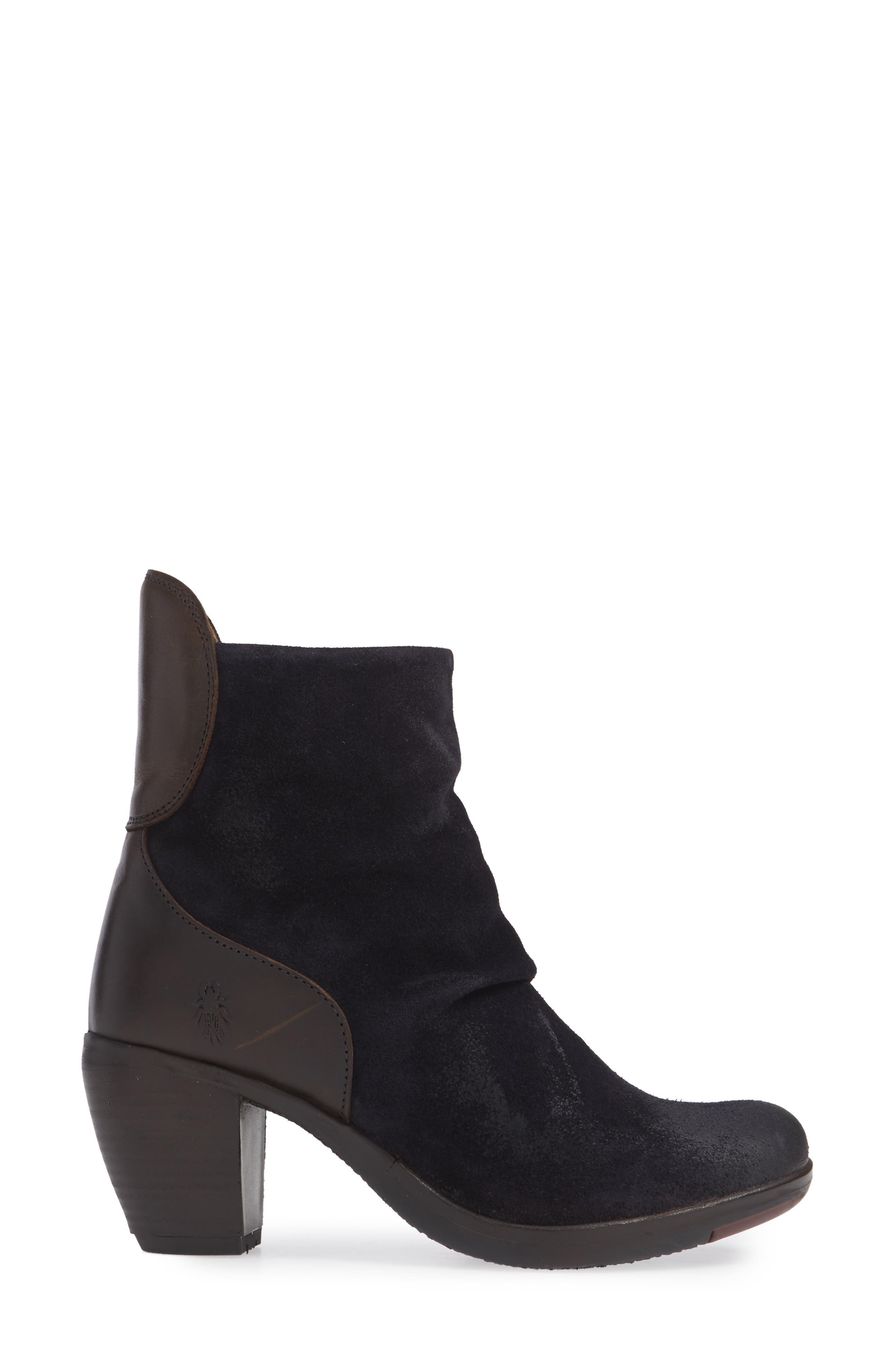 Hota Slouch Bootie,                             Alternate thumbnail 3, color,                             Navy Dark Brown Oil Suede
