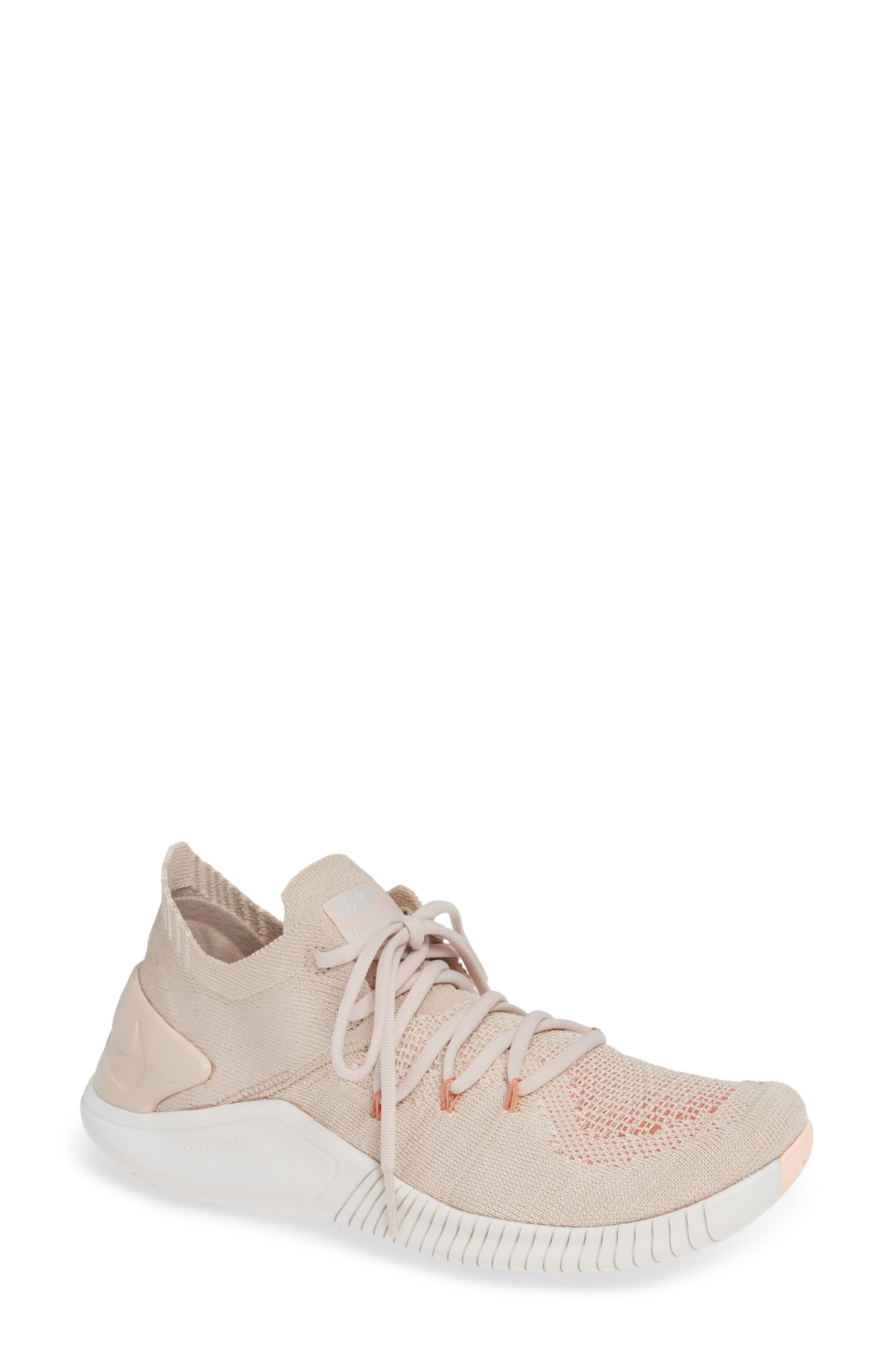 Free TR Flyknit 3 Training Shoe,                             Main thumbnail 1, color,                             Particle Beige/ Phantom