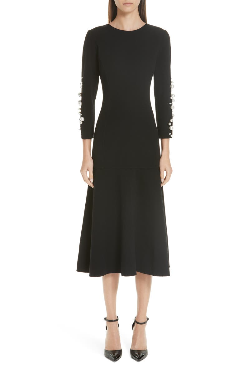 Imitation Pearl Embellished Stretch Wool Crepe Dress