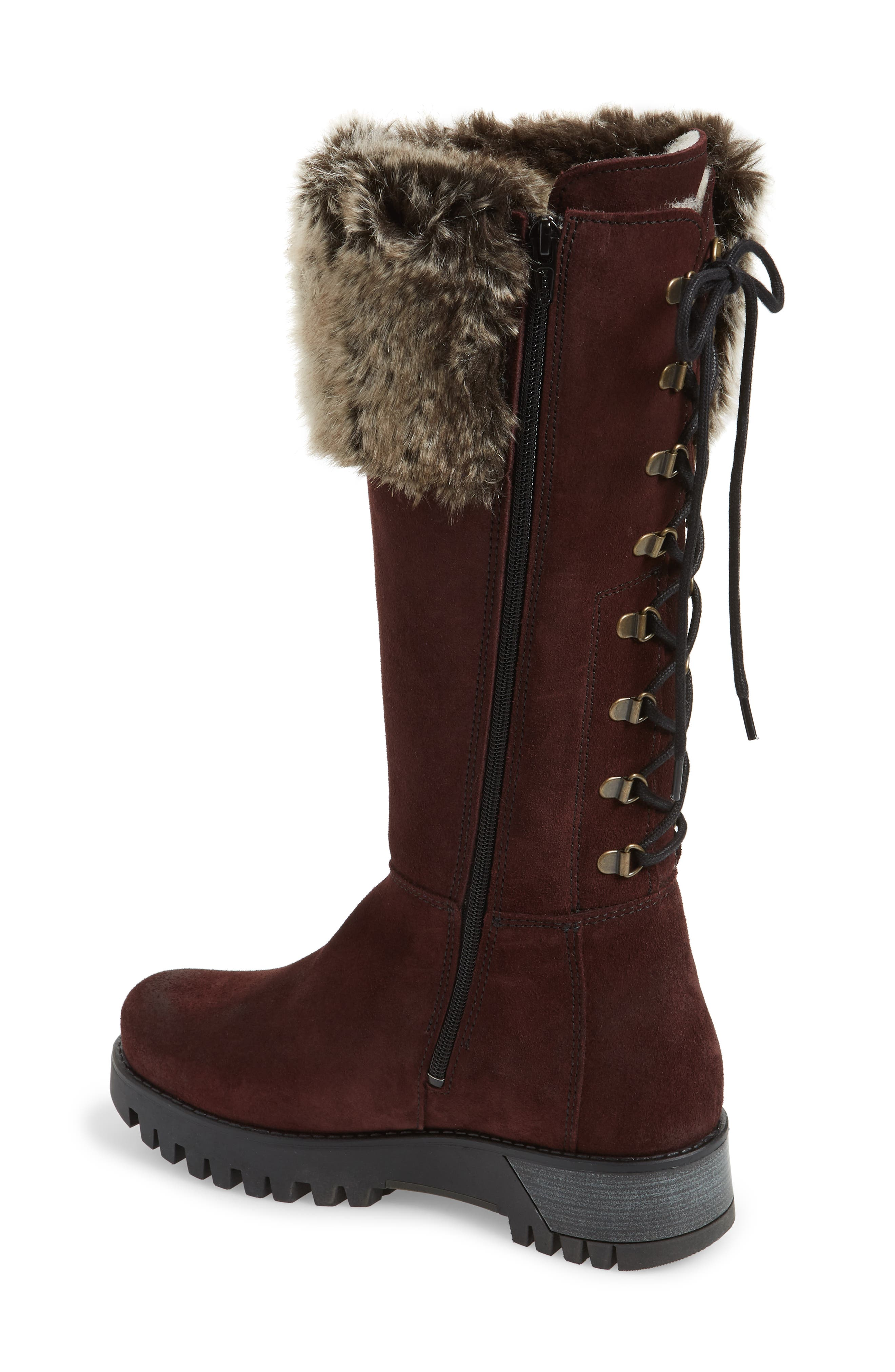 Graham Waterproof Winter Boot with Faux Fur Cuff,                             Alternate thumbnail 2, color,                             Wine Suede