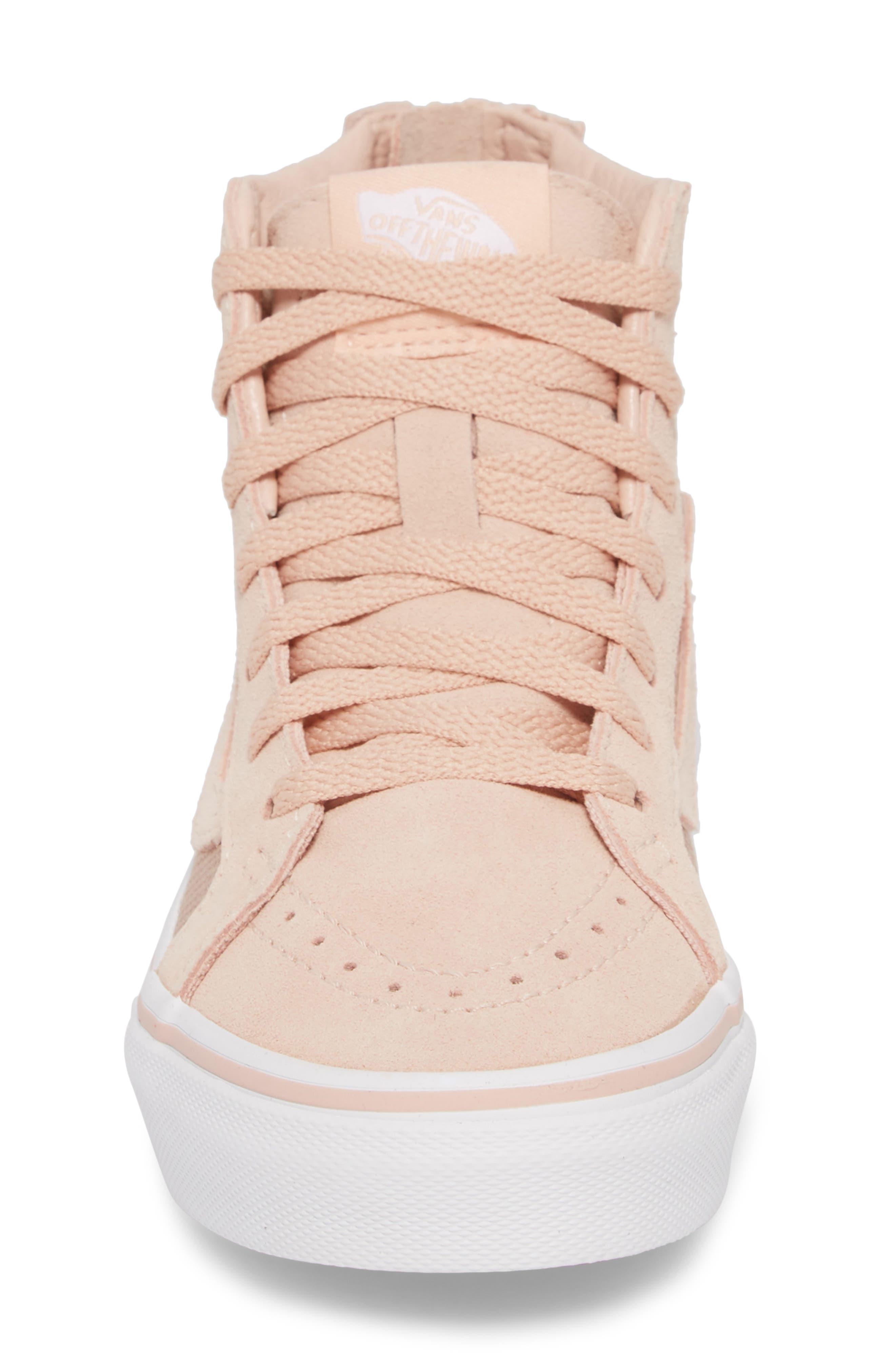 SK8-Hi Zip Sneaker,                             Alternate thumbnail 4, color,                             Rose Gold Suede Leather