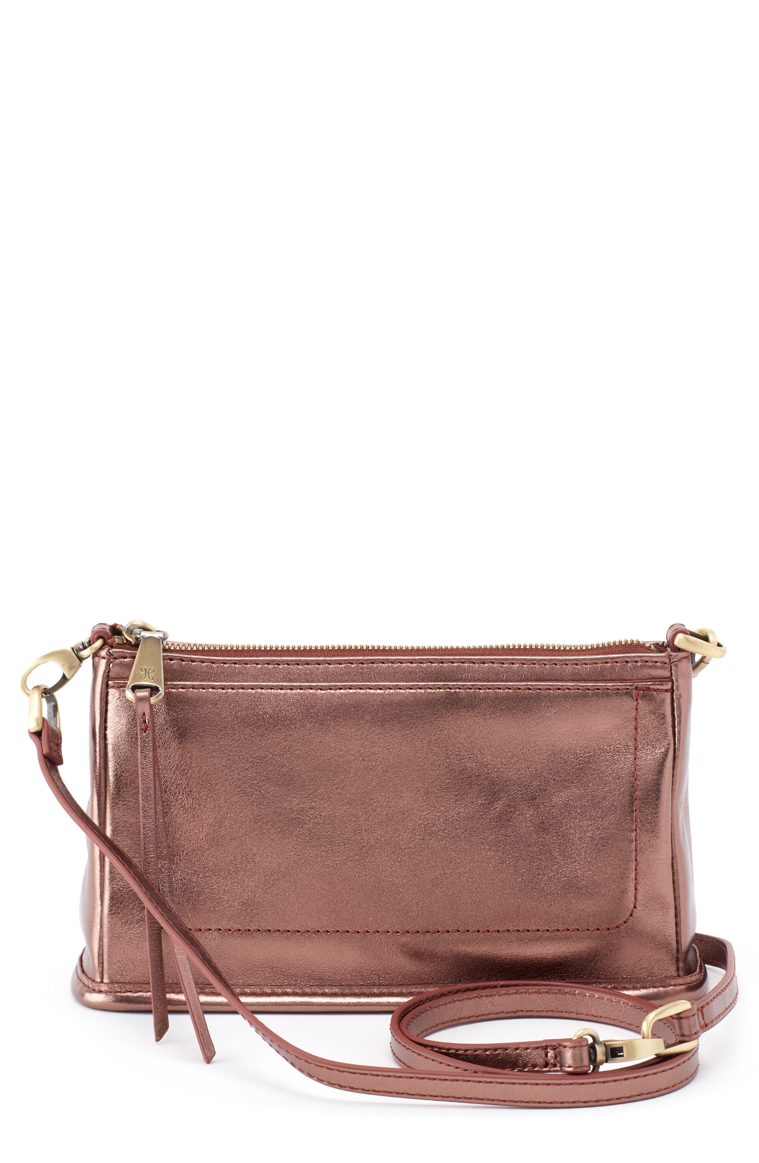 'Small Cadence' Leather Crossbody Bag,                             Main thumbnail 1, color,                             Burnt Bronze