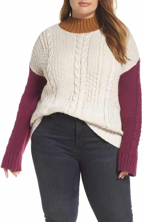 205515fb582 Colorblock Cable Knit Pullover (Plus Size)