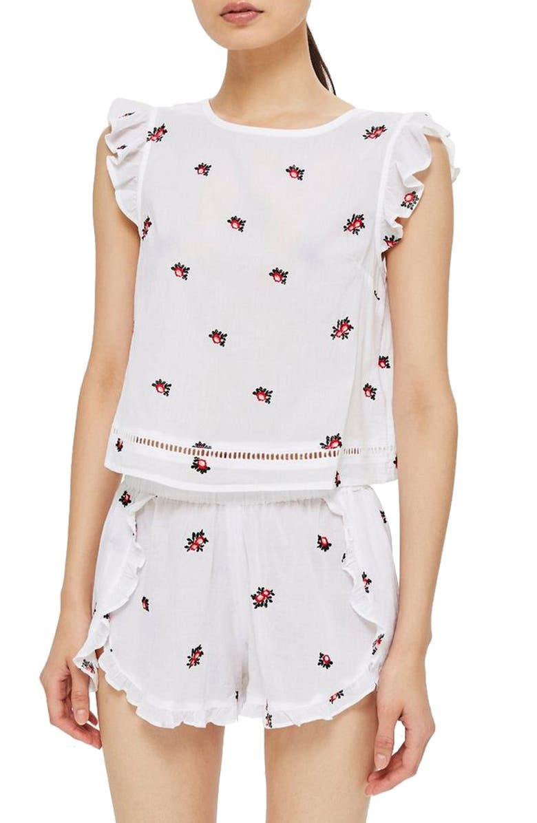 Floral Embroidered Pajama Top