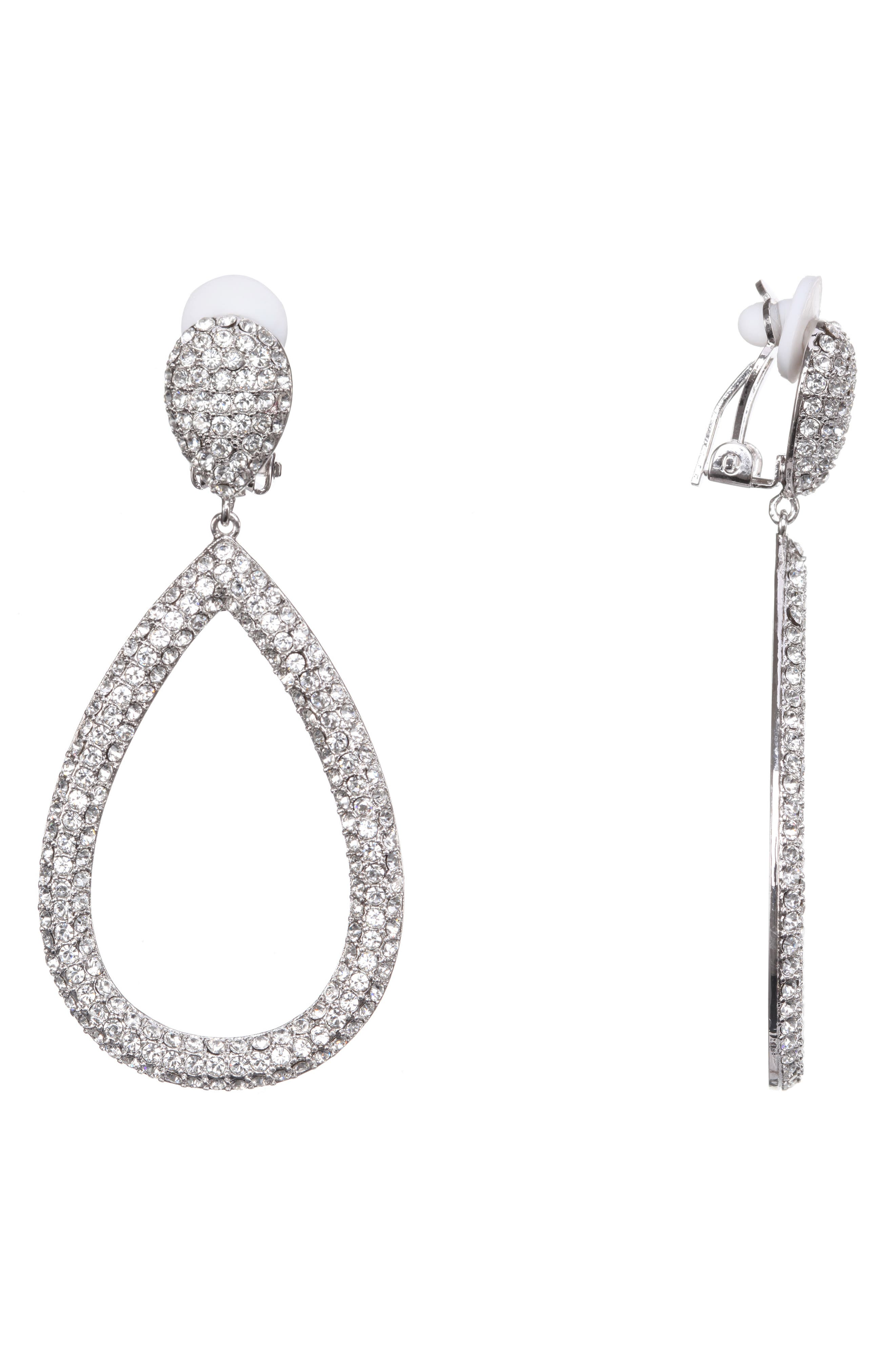NINA PAVE CRYSTAL CLIP-ON EARRINGS