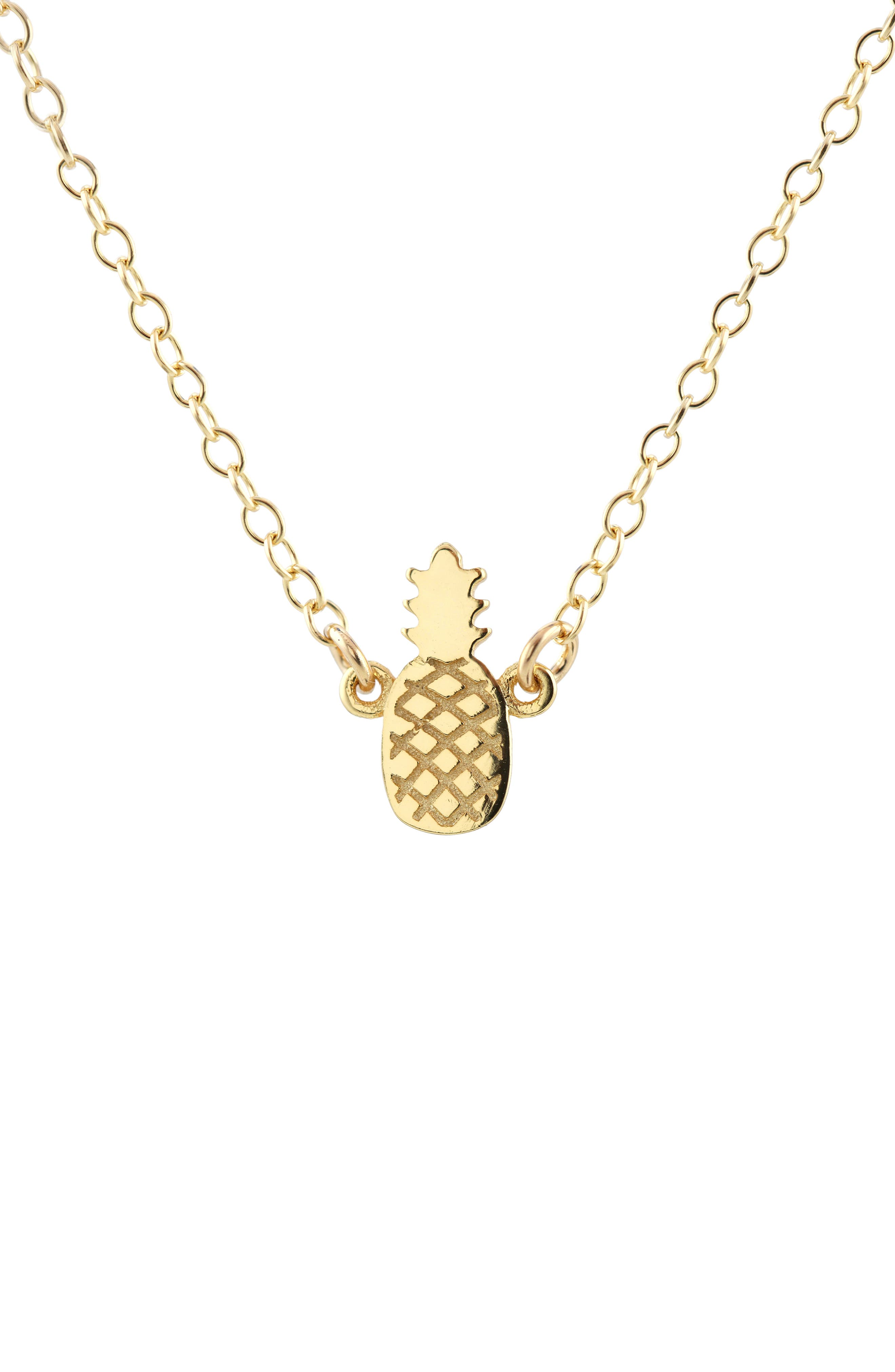 Pineapple Charm Necklace,                         Main,                         color, Gold