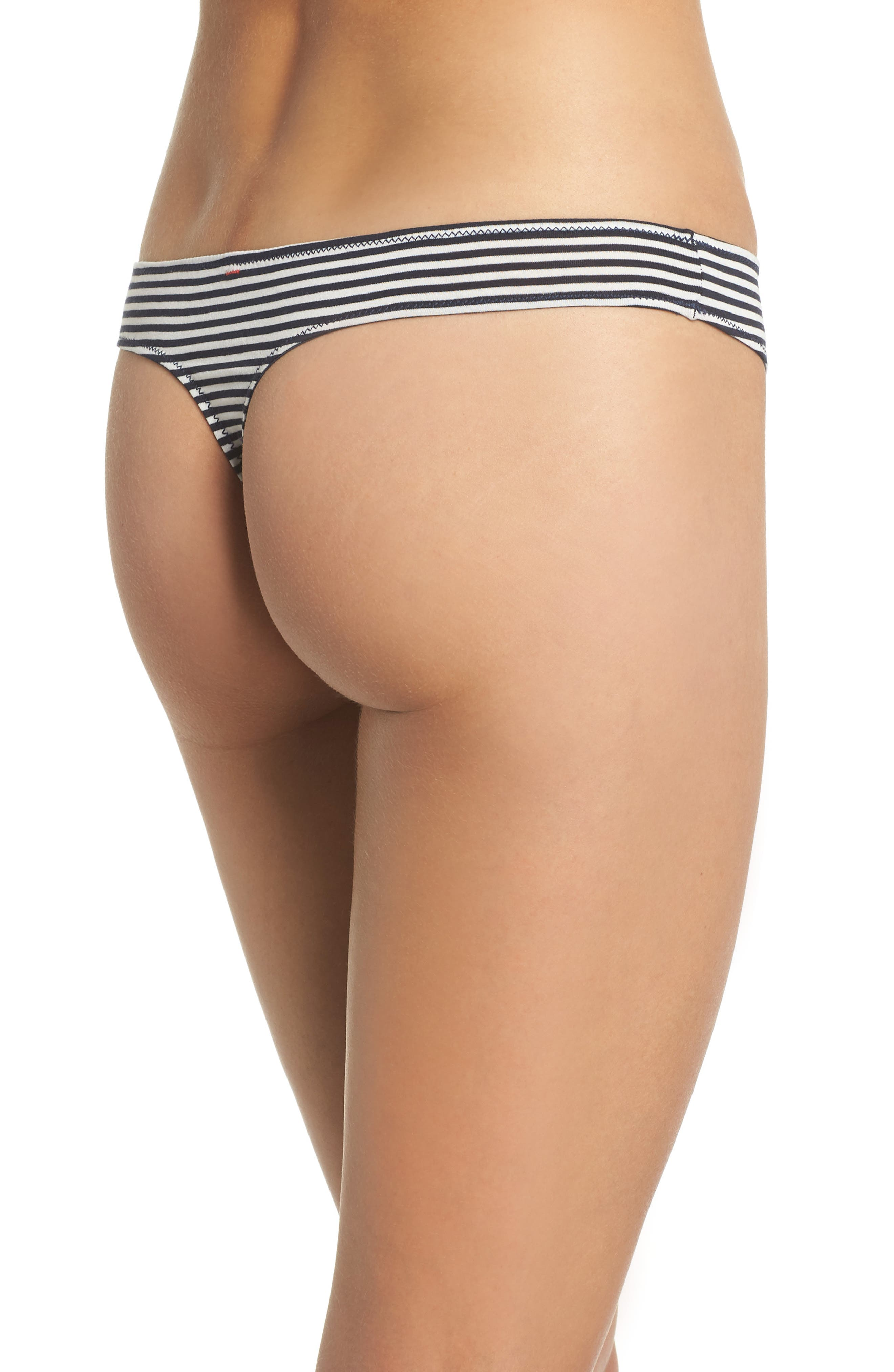 Jersey Thong,                             Alternate thumbnail 2, color,                             Heather Navy Stripe