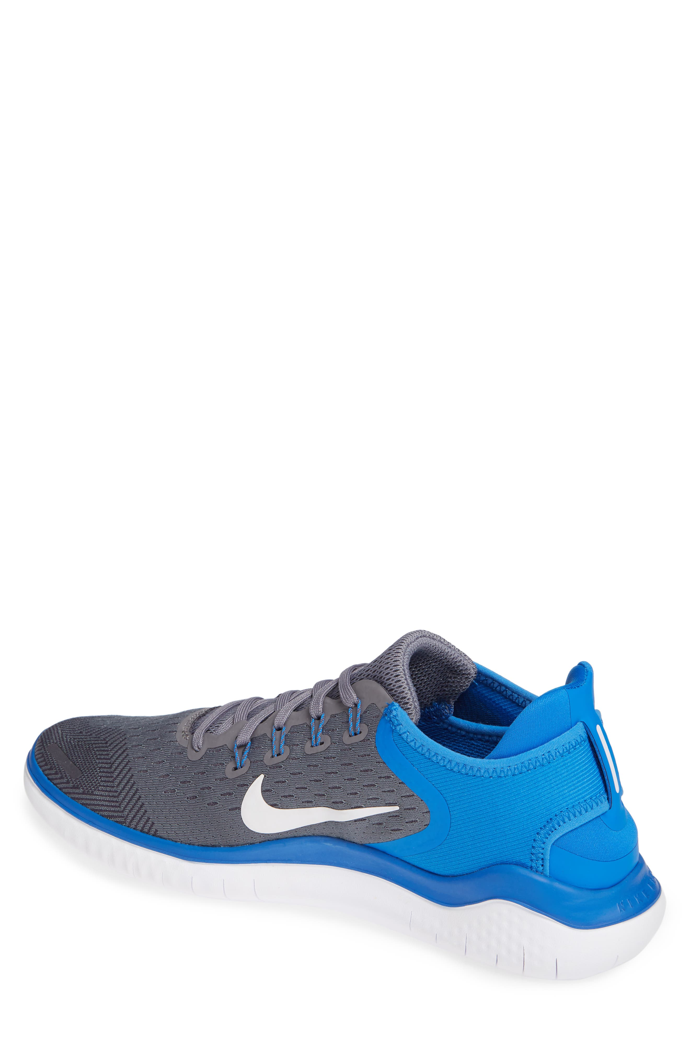 Free RN 2018 Running Shoe,                             Alternate thumbnail 2, color,                             Gunsmoke/ White/ Blue