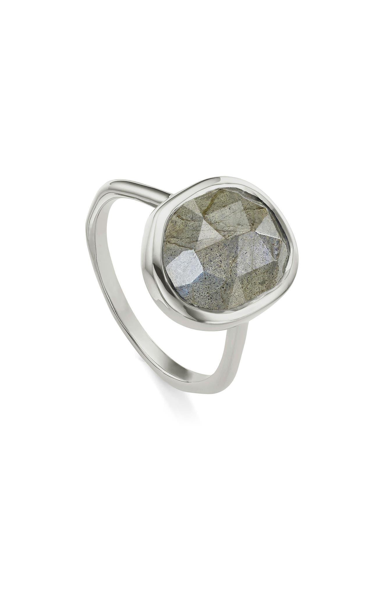 'Siren' Medium Semiprecious Stone Stacking Ring, Silver/ Labradorite