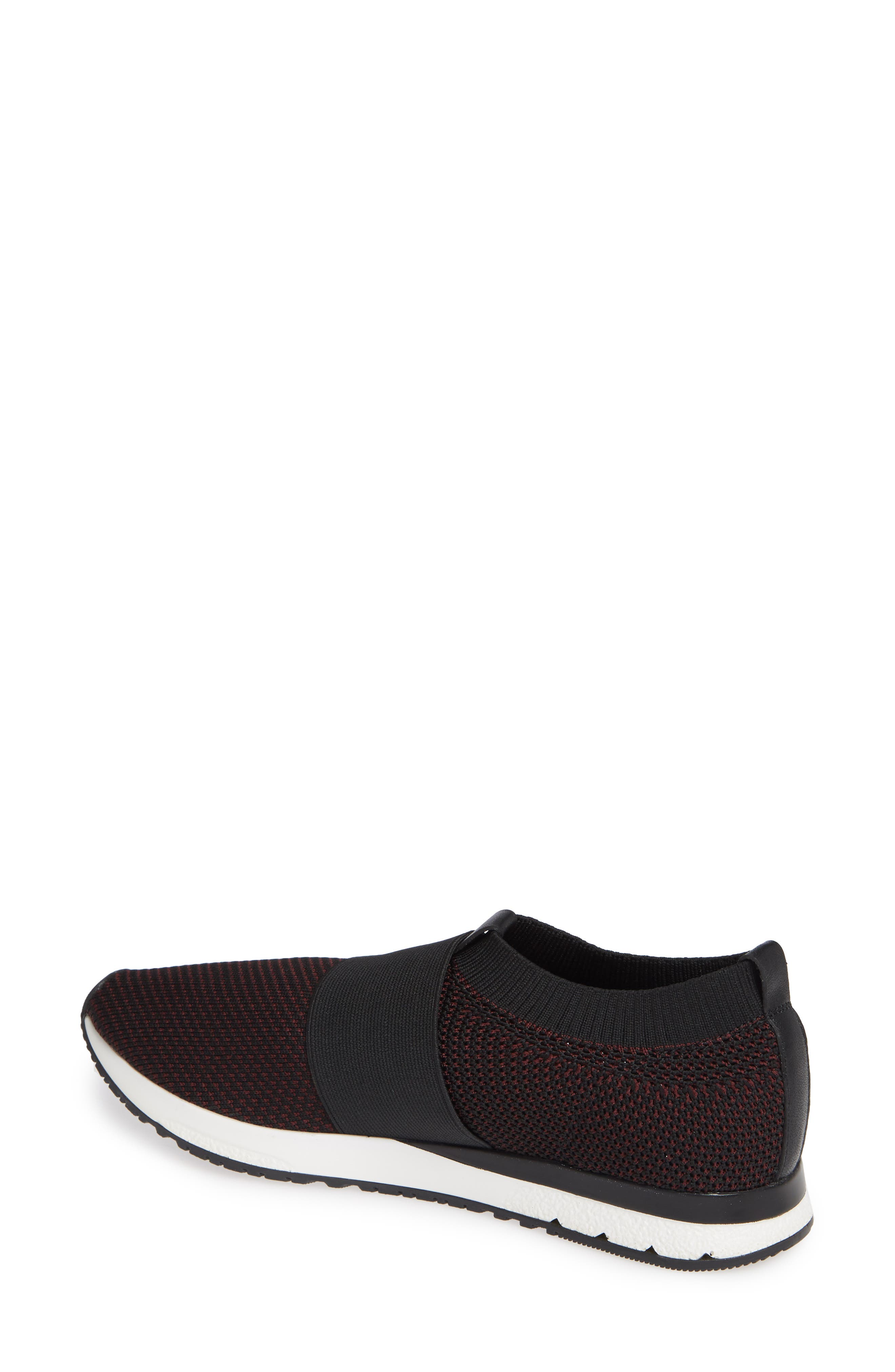 Brooke Slip-On Sneaker,                             Alternate thumbnail 2, color,                             Black/ Wine Knit Fabric