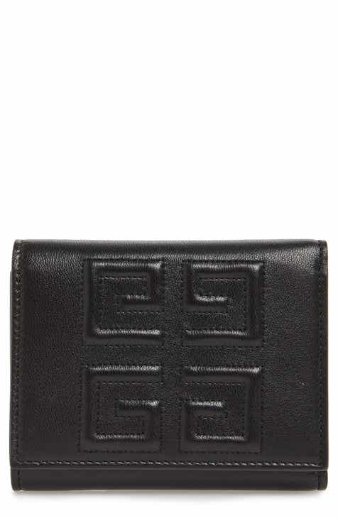 ae0c54a36ac67 Givenchy Emblem Lambskin Leather Trifold Wallet