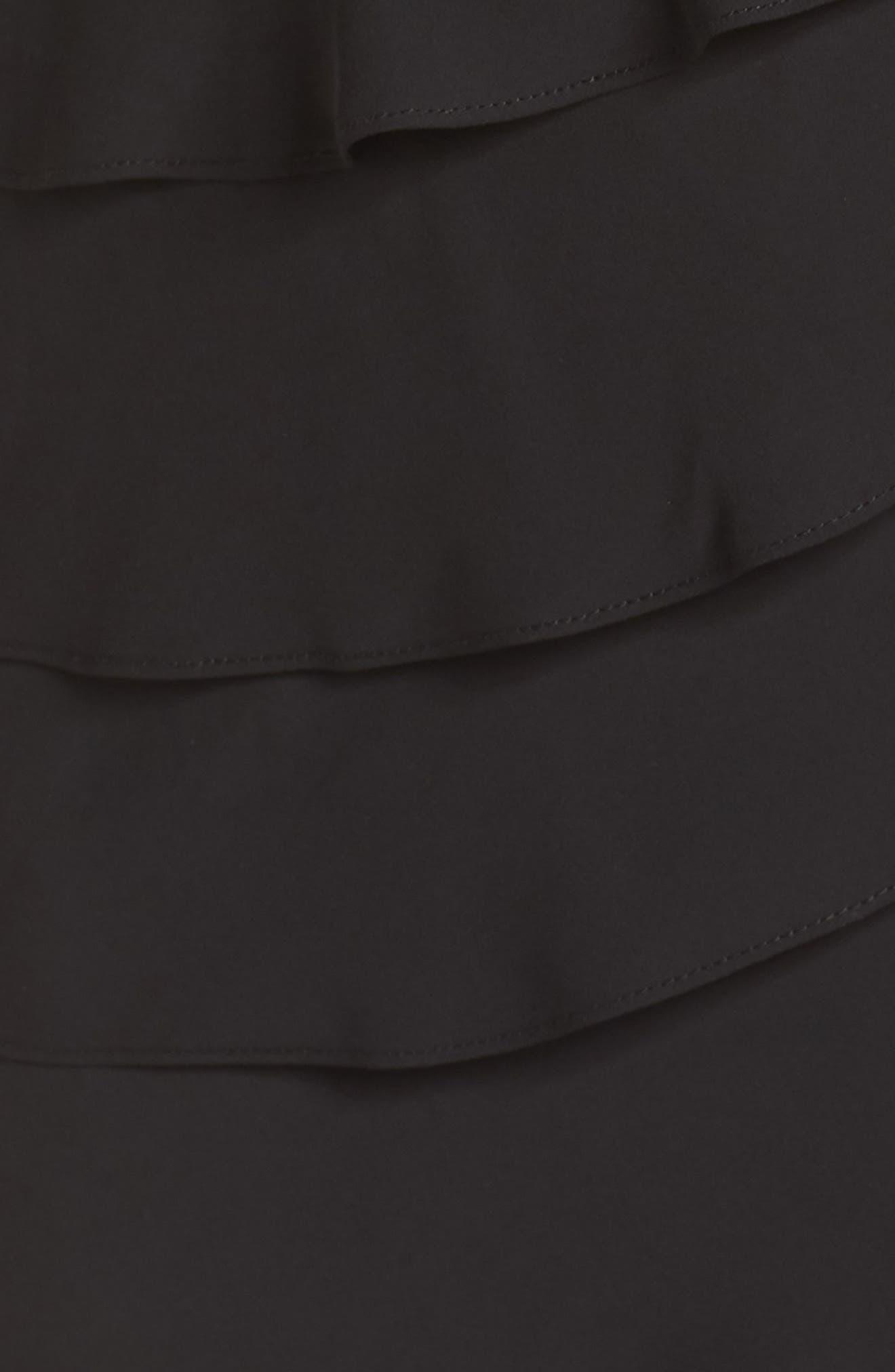 Lace & Shutter Pleat Gown,                             Alternate thumbnail 4, color,                             Black