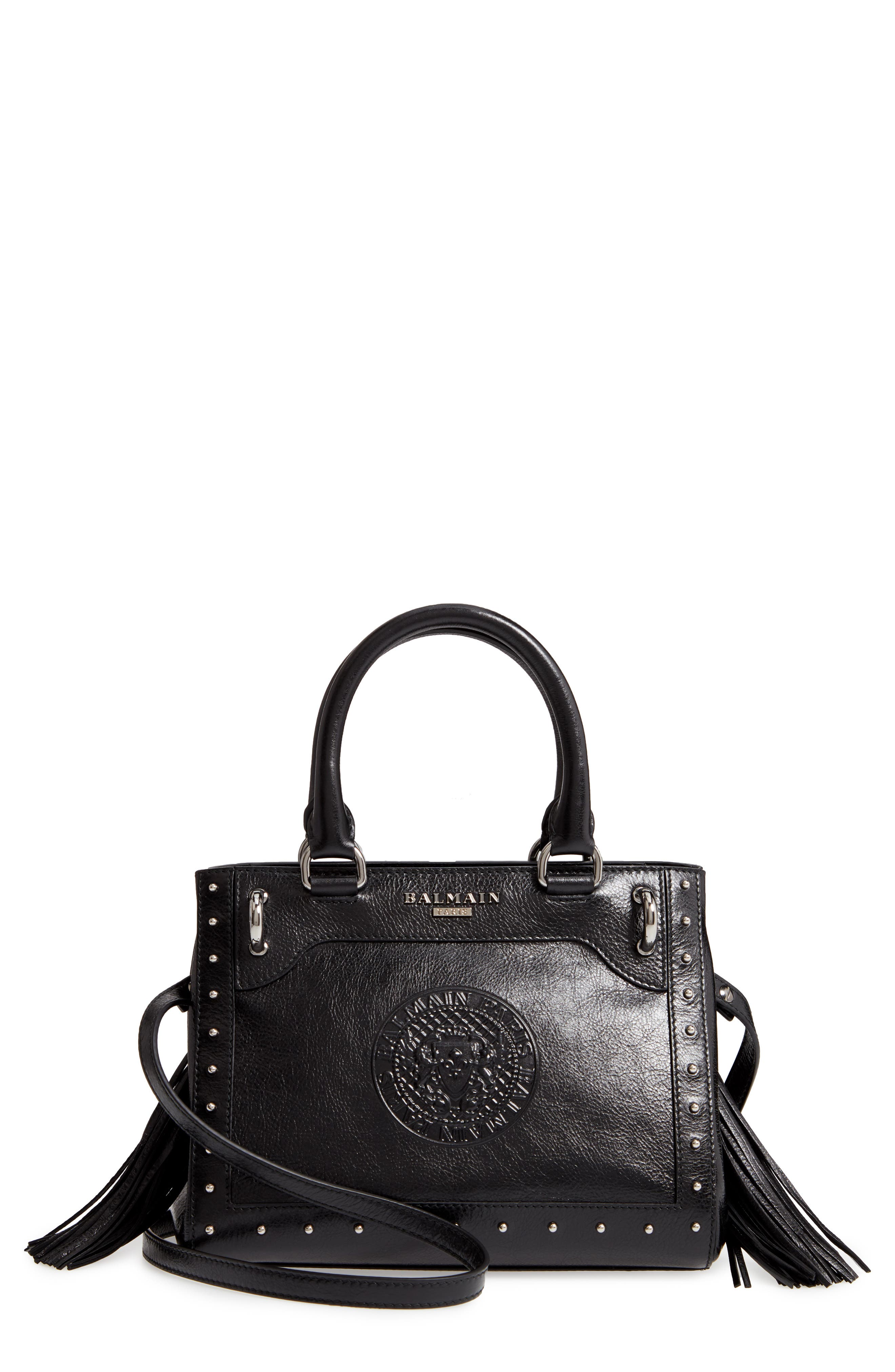 Mini Logo Calfskin Leather Top Handle Satchel,                         Main,                         color, Noir