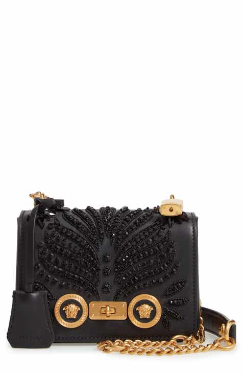 6e932ada1ae5 Versace Small Icon Crystal Embellished Leather Crossbody Bag