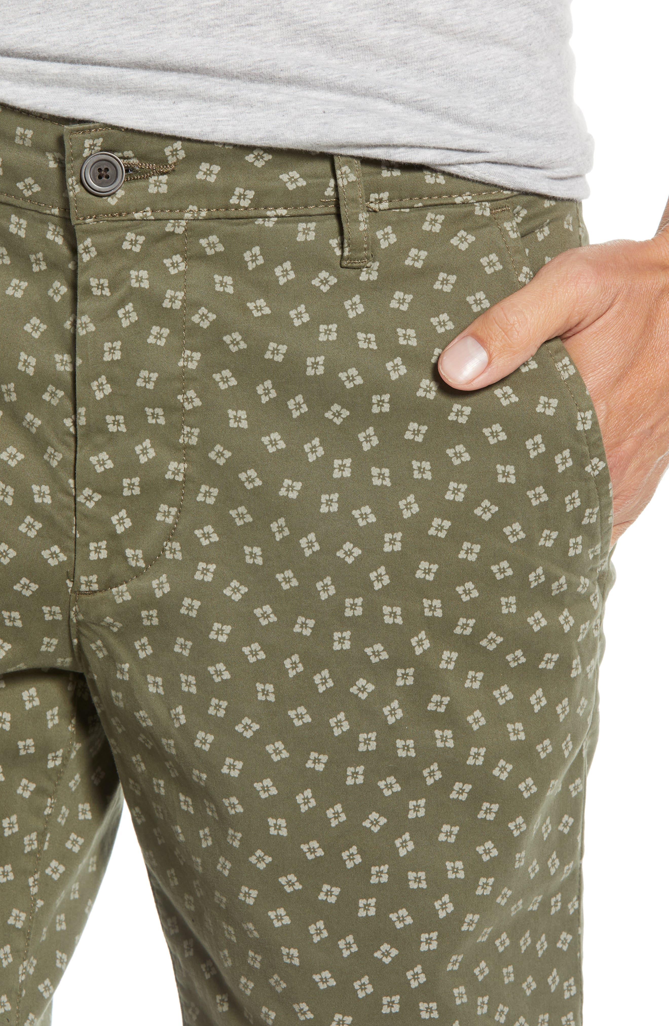 Flora Print Slim Fit Shorts,                             Alternate thumbnail 4, color,                             Flora Canyon Moss