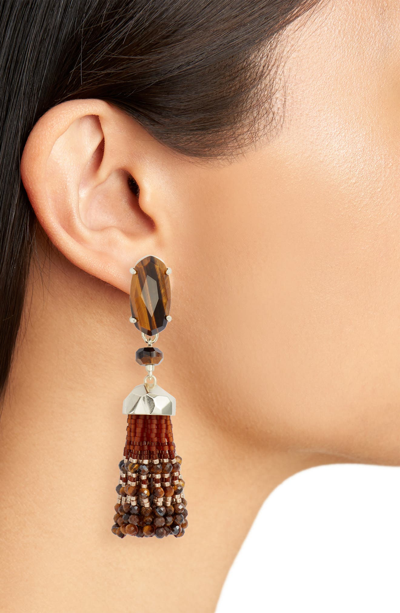 Dove Tassel Earrings,                             Alternate thumbnail 2, color,                             Brown Tigers Eye/ Gold