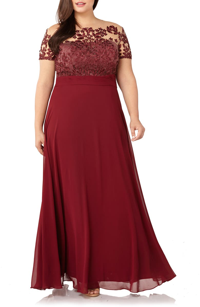 JS COLLECTIONS FLORAL EMBROIDERED CHIFFON GOWN, CABERNET   ModeSens