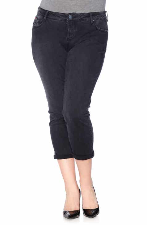 SLINK Jeans Roll Crop Boyfriend Jeans (Sasha) (Plus Size)