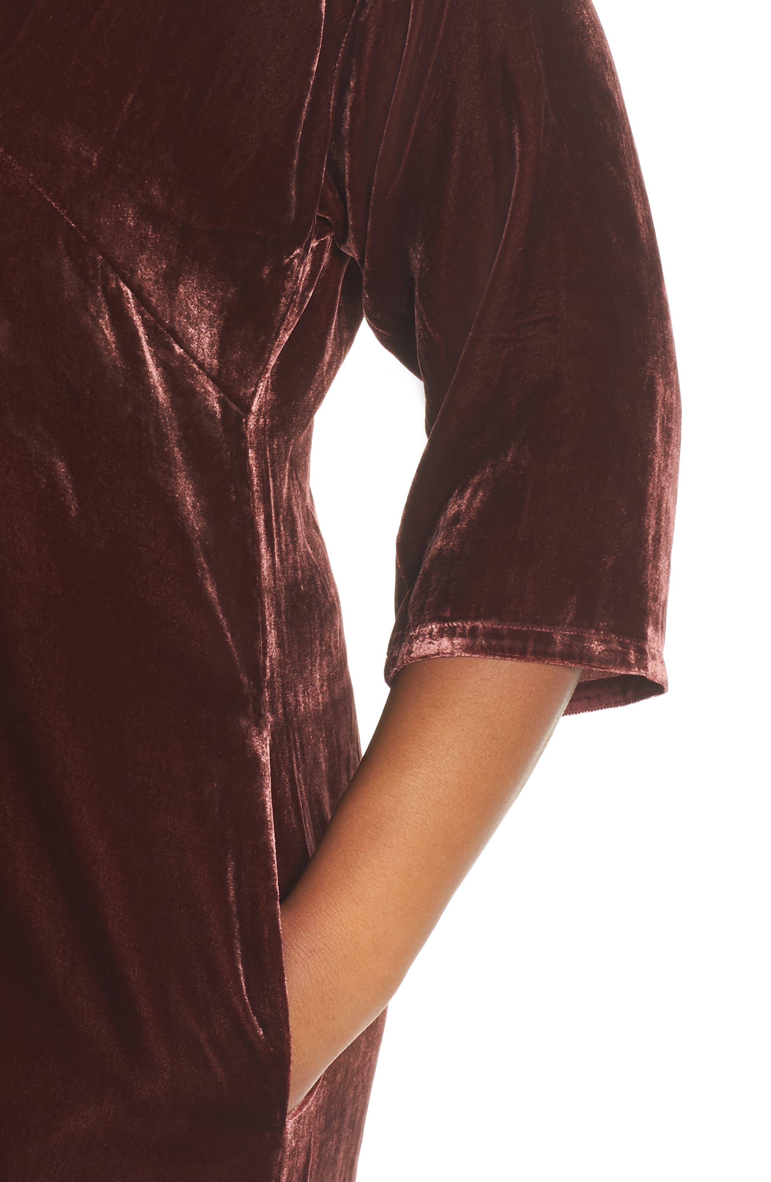 Velvet Shift Dress,                             Alternate thumbnail 3, color,                             Dark Monterey