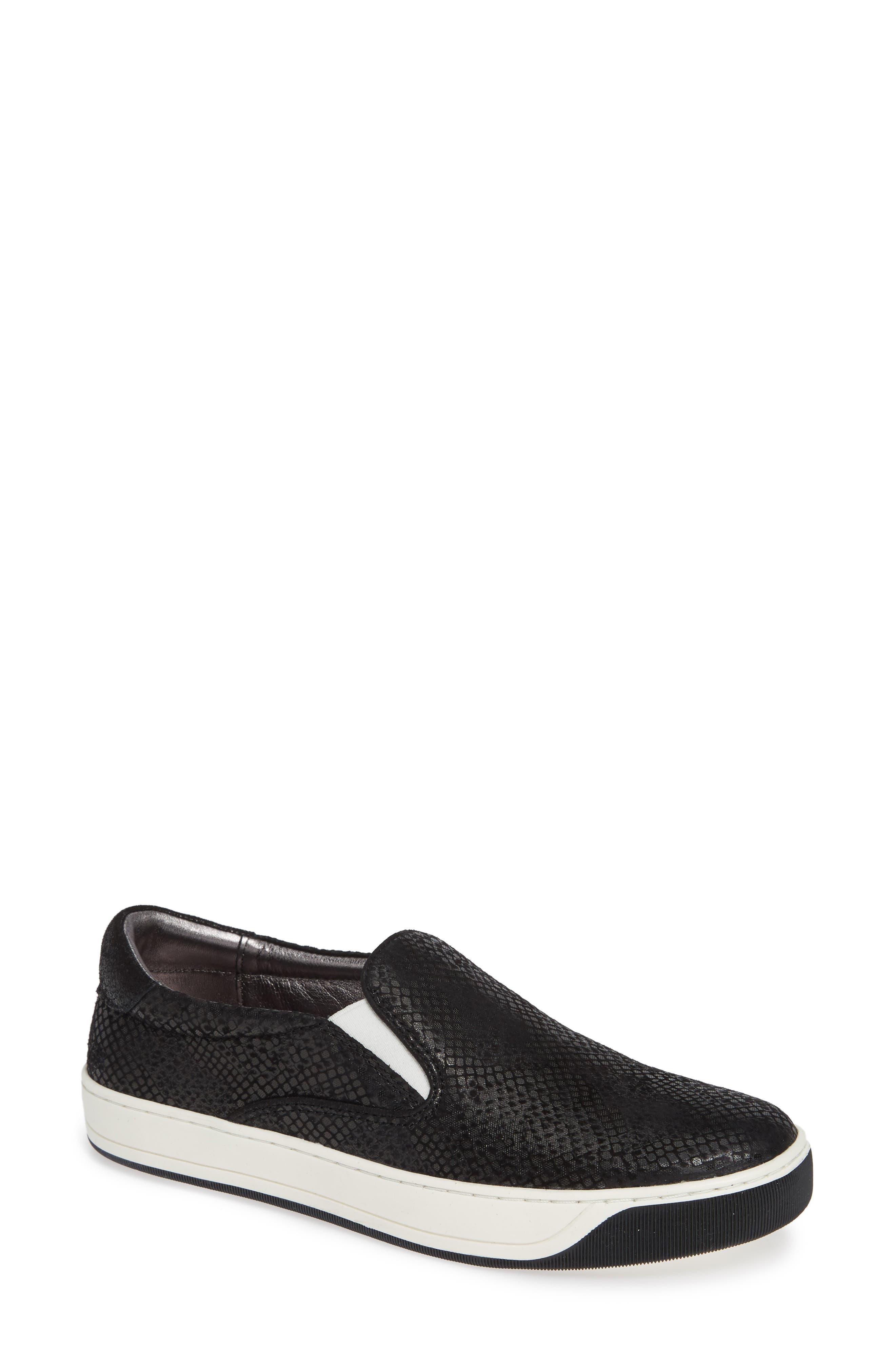 Elaine Slip-On Sneaker,                             Main thumbnail 1, color,                             Black Snake Print Suede