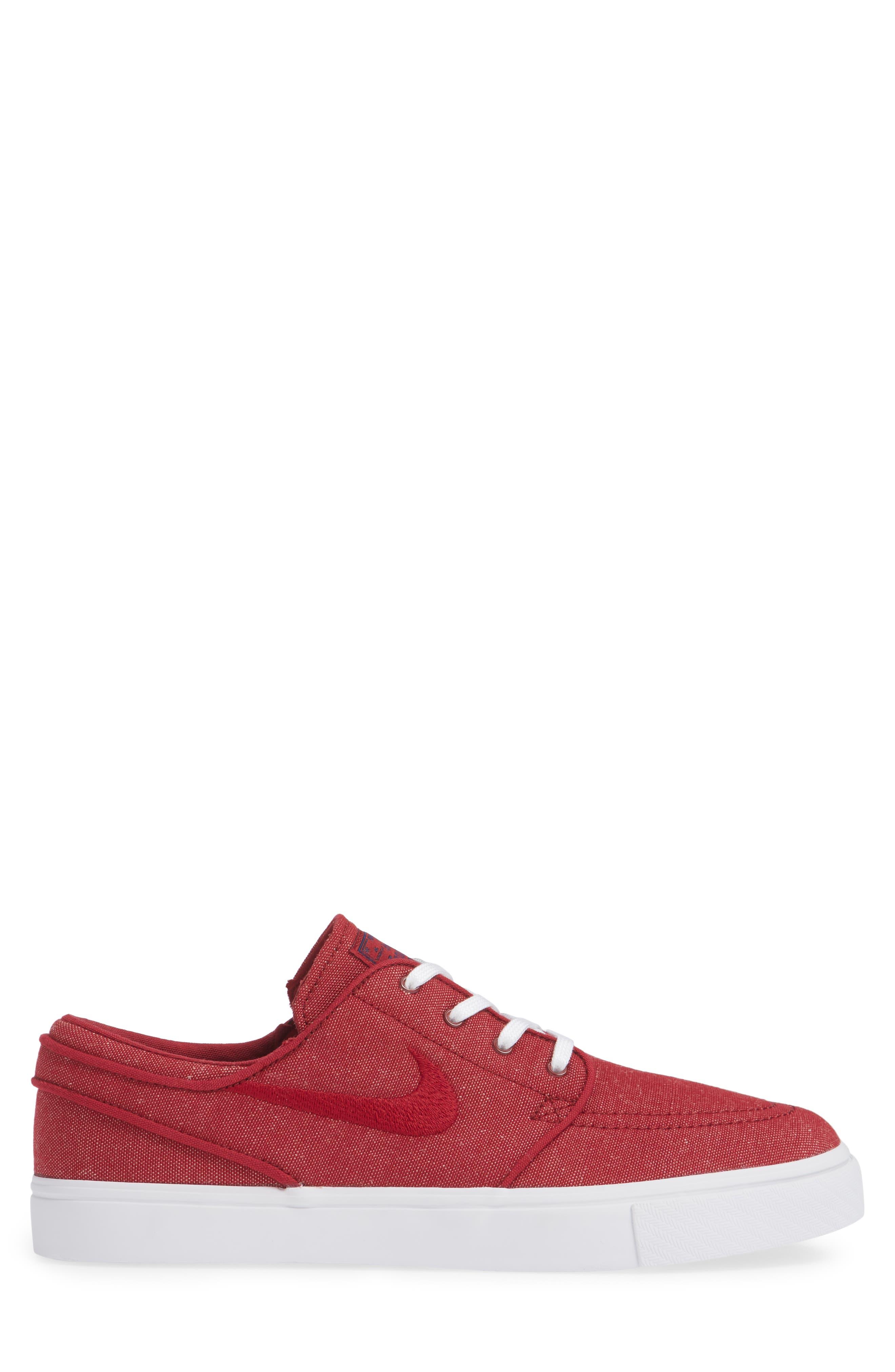 Zoom - Stefan Janoski SB Canvas Skate Shoe,                             Alternate thumbnail 5, color,                             Red Crush/ White