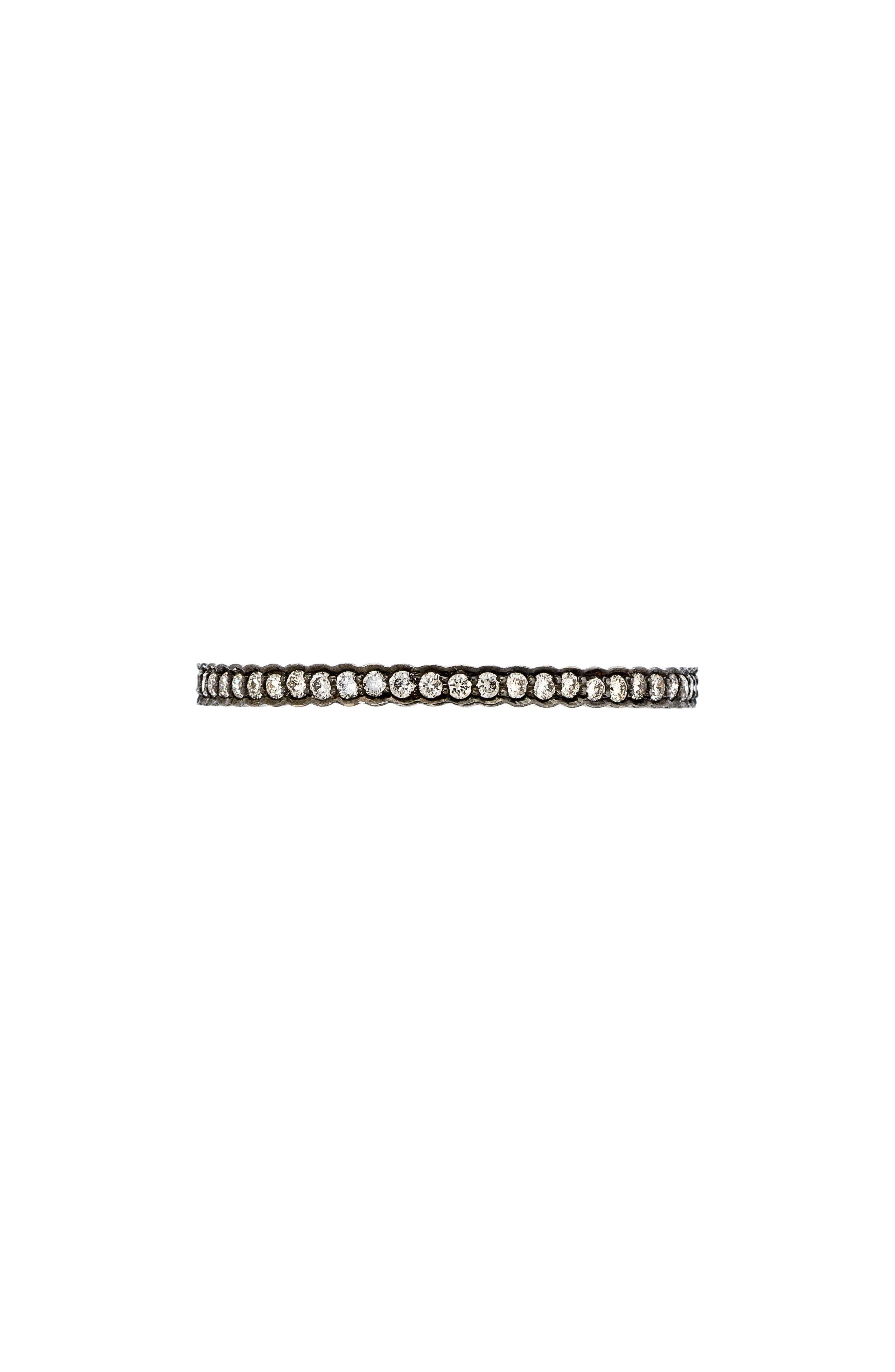 SETHI COUTURE BLACK RHODIUM DIAMOND STACKING RING