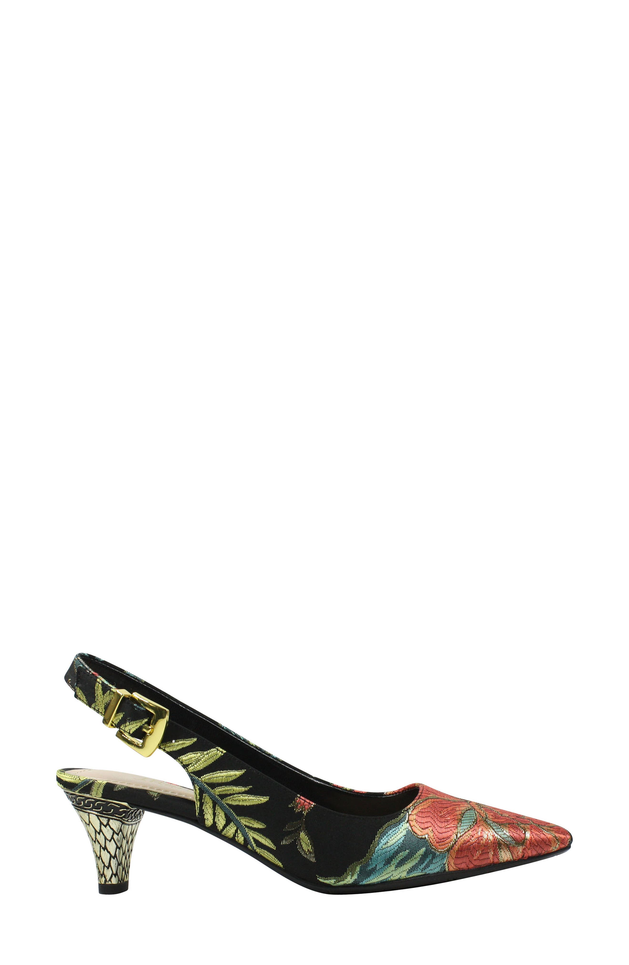 Mayetta Slingback Pump,                             Alternate thumbnail 3, color,                             Black/ Teal/ Coral Multi