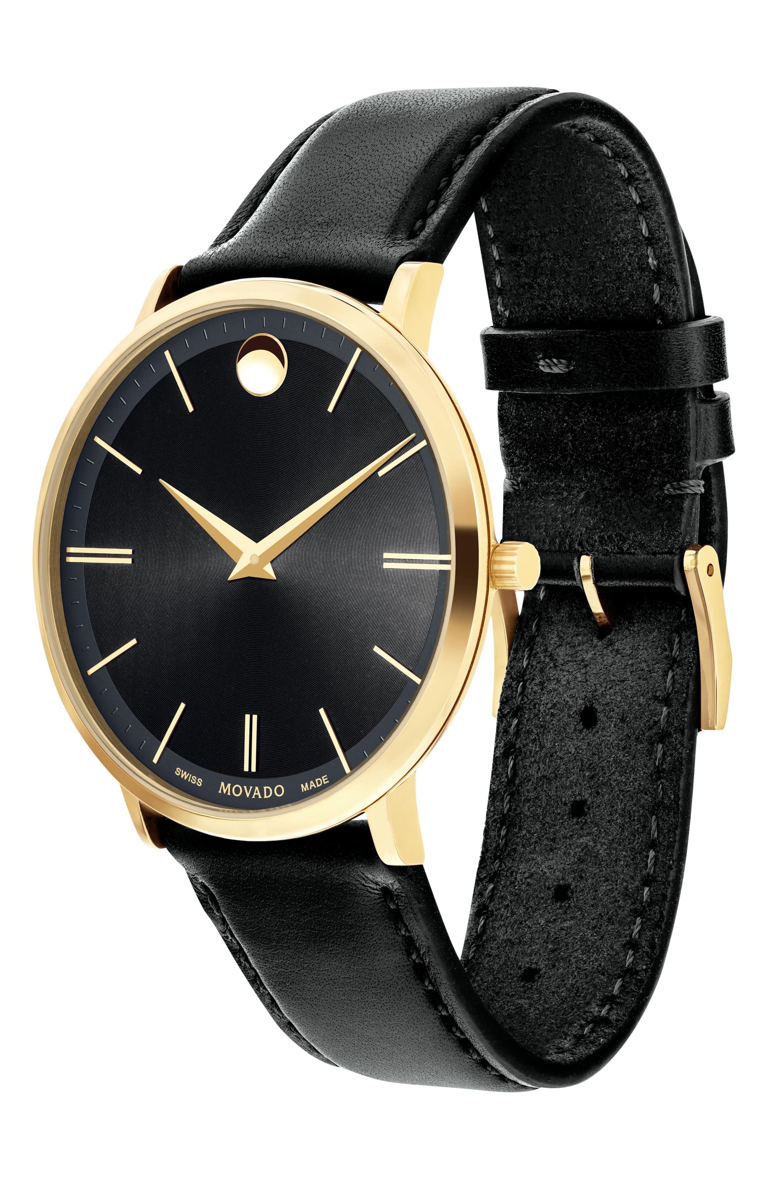 'Ultra Slim' Leather Strap Watch, 40mm,                             Alternate thumbnail 3, color,                             Black/ Black/ Gold