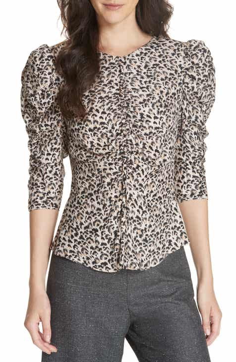 1eae588bf28747 Rebecca Taylor Leopard Print Ruched Silk Blouse