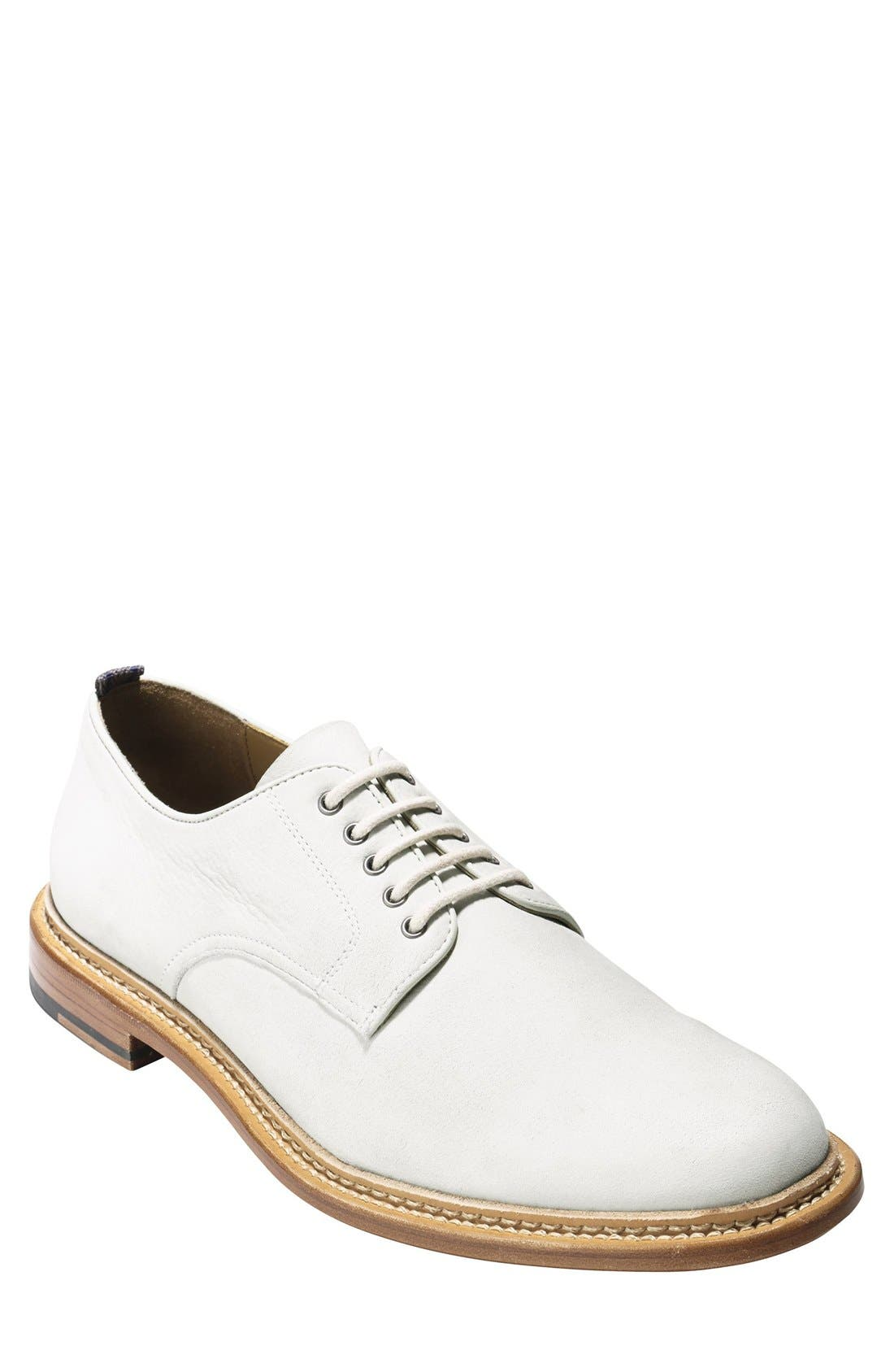 'Willet' Nubuck Plain Toe Derby,                             Main thumbnail 1, color,                             Ivory