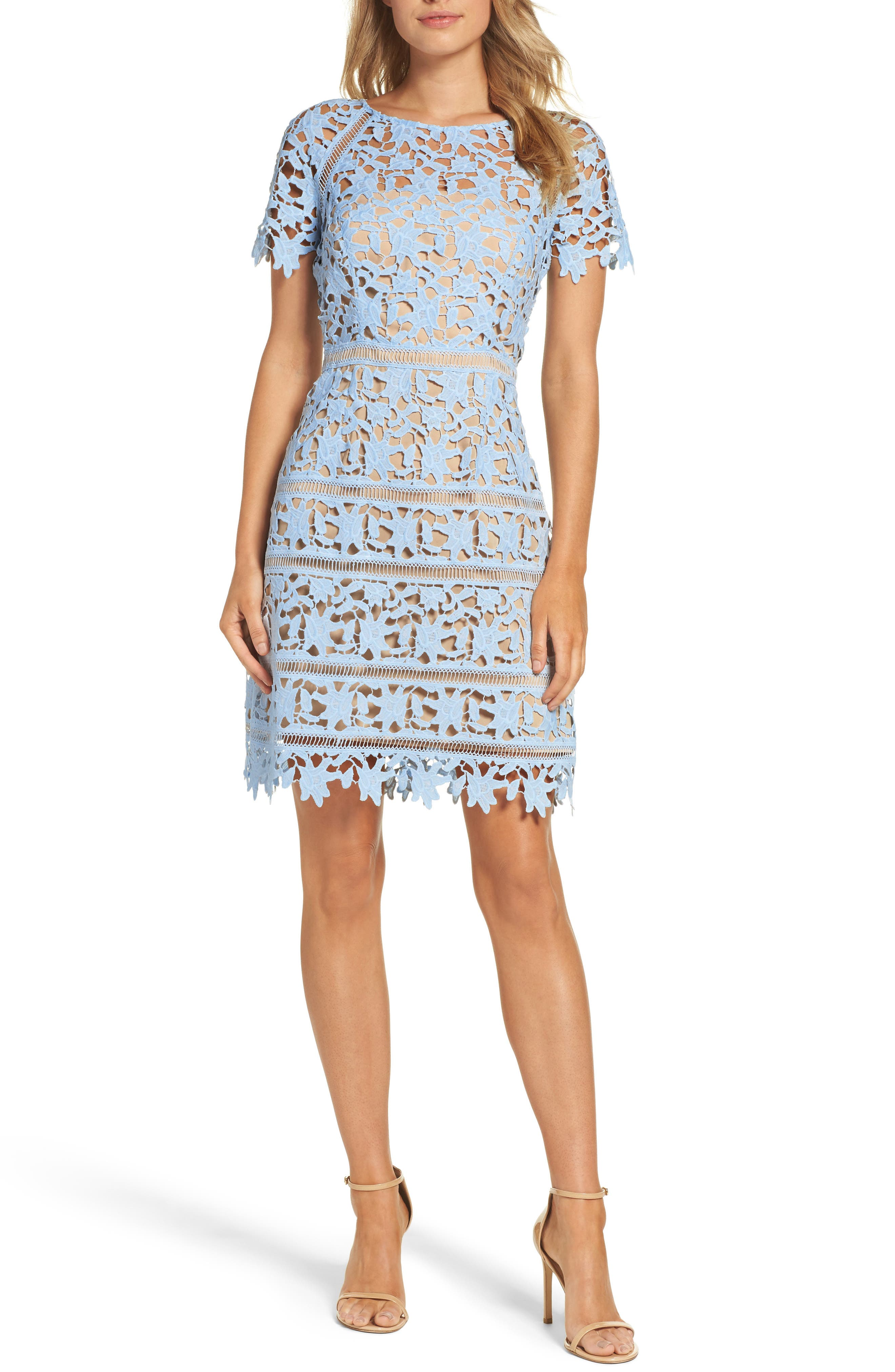 Crochet Overlay Dress,                             Main thumbnail 1, color,                             Blue