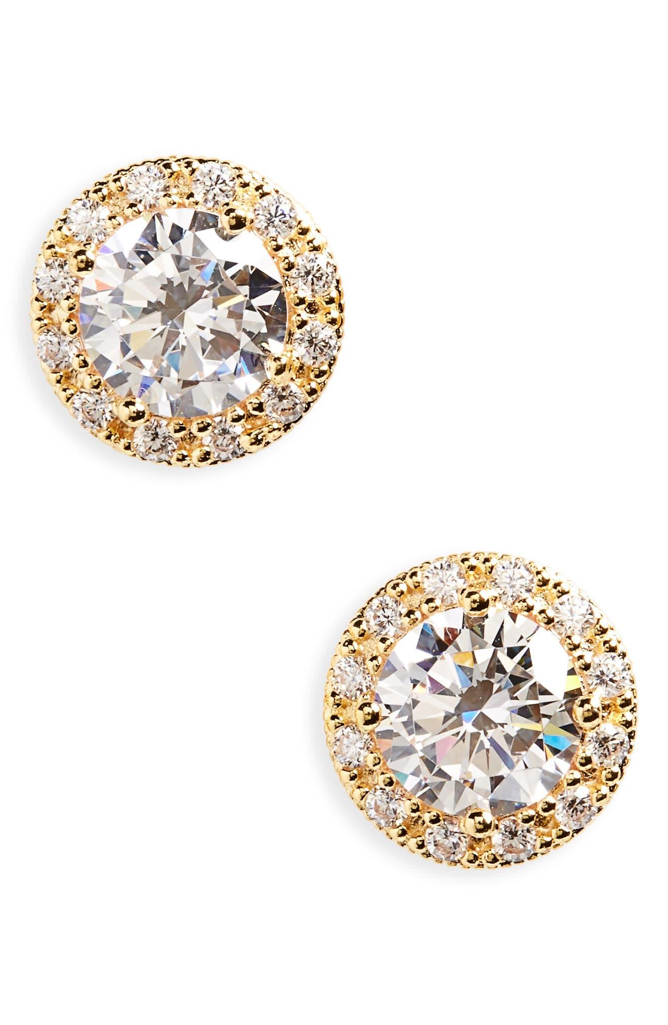 Pavé Round Stud Earrings,                             Main thumbnail 1, color,                             Gold
