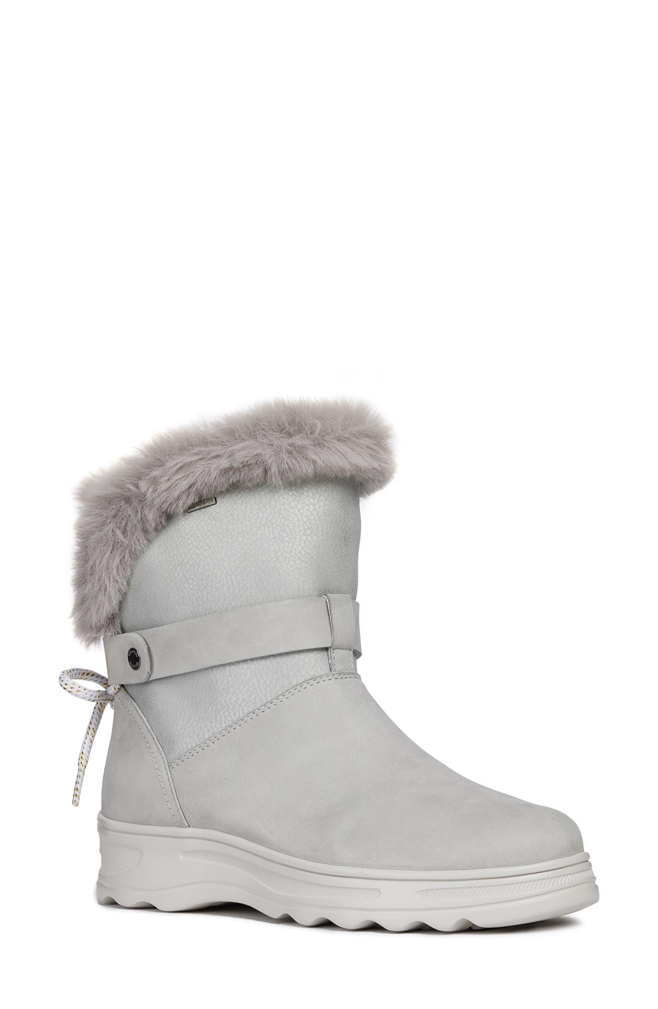 GEOX Hosmos Abx Waterproof Faux Fur Trim Boot in Light Grey/ Silver Suede