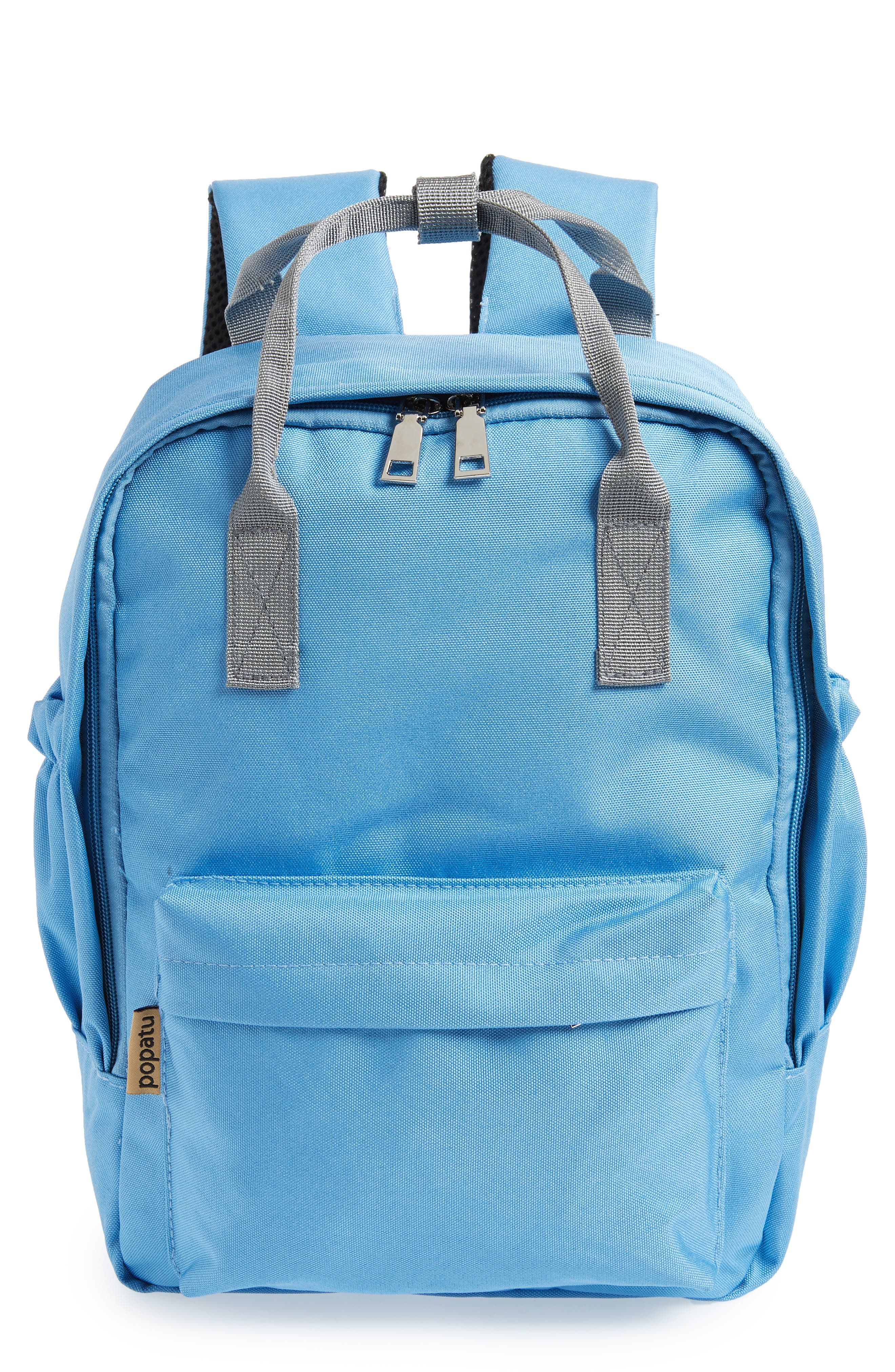 Solid Backpack,                         Main,                         color, Light Blue/ Grey