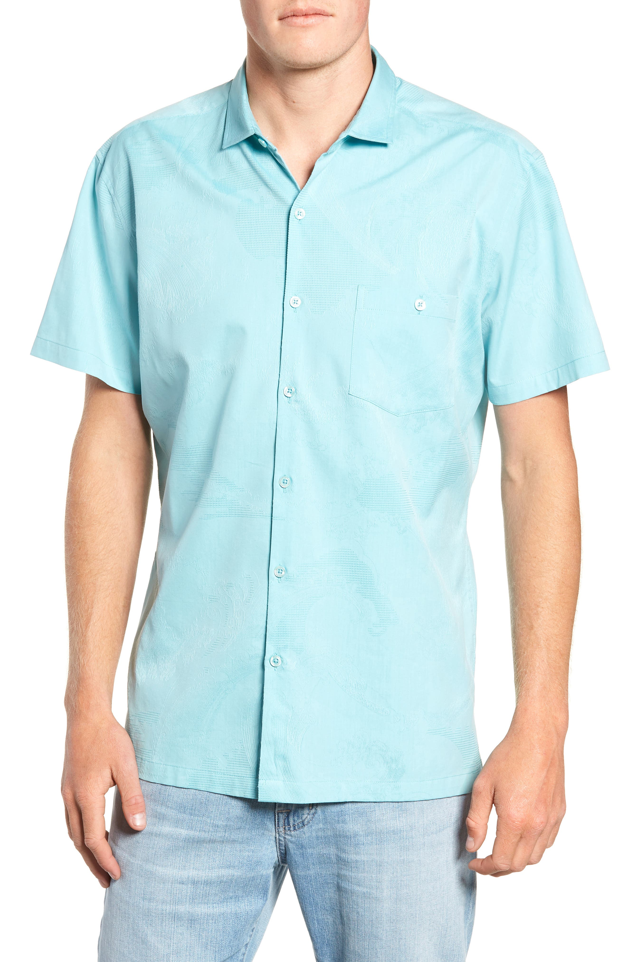 Seas the Day Trim Fit Camp Shirt,                             Main thumbnail 1, color,                             Surf