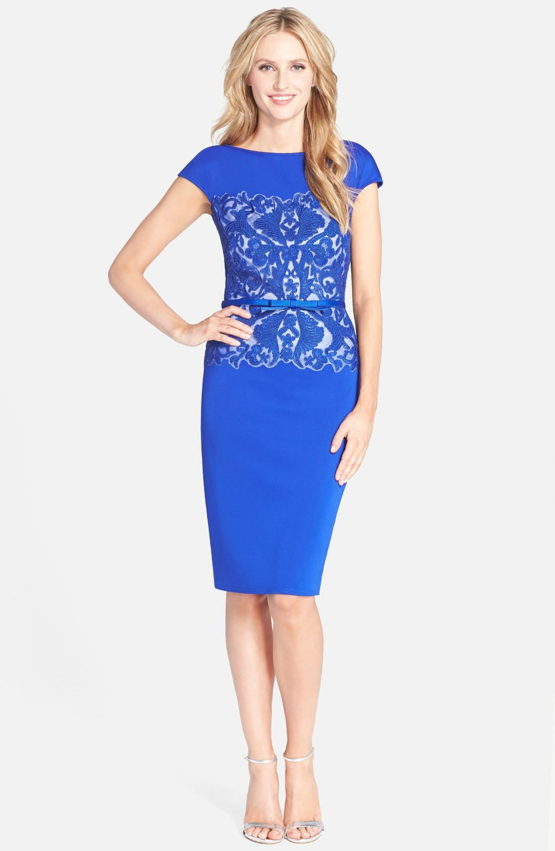 Alternate Image 3  - Tadashi Shoji Belted Embroidered Neoprene Sheath Dress (Regular & Petite)