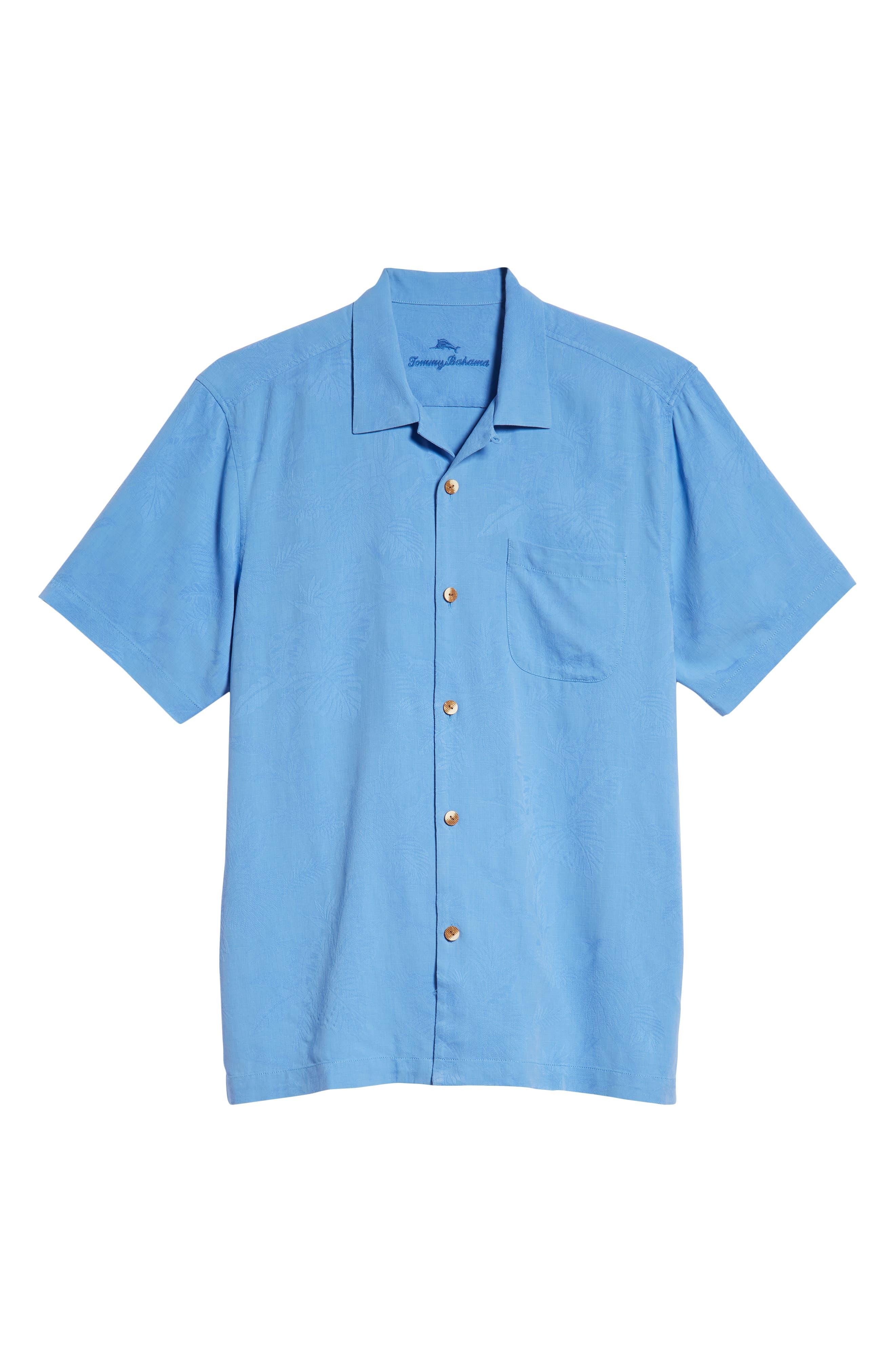 St Lucia Fronds Silk Camp Shirt,                             Alternate thumbnail 5, color,                             New Blue Opal