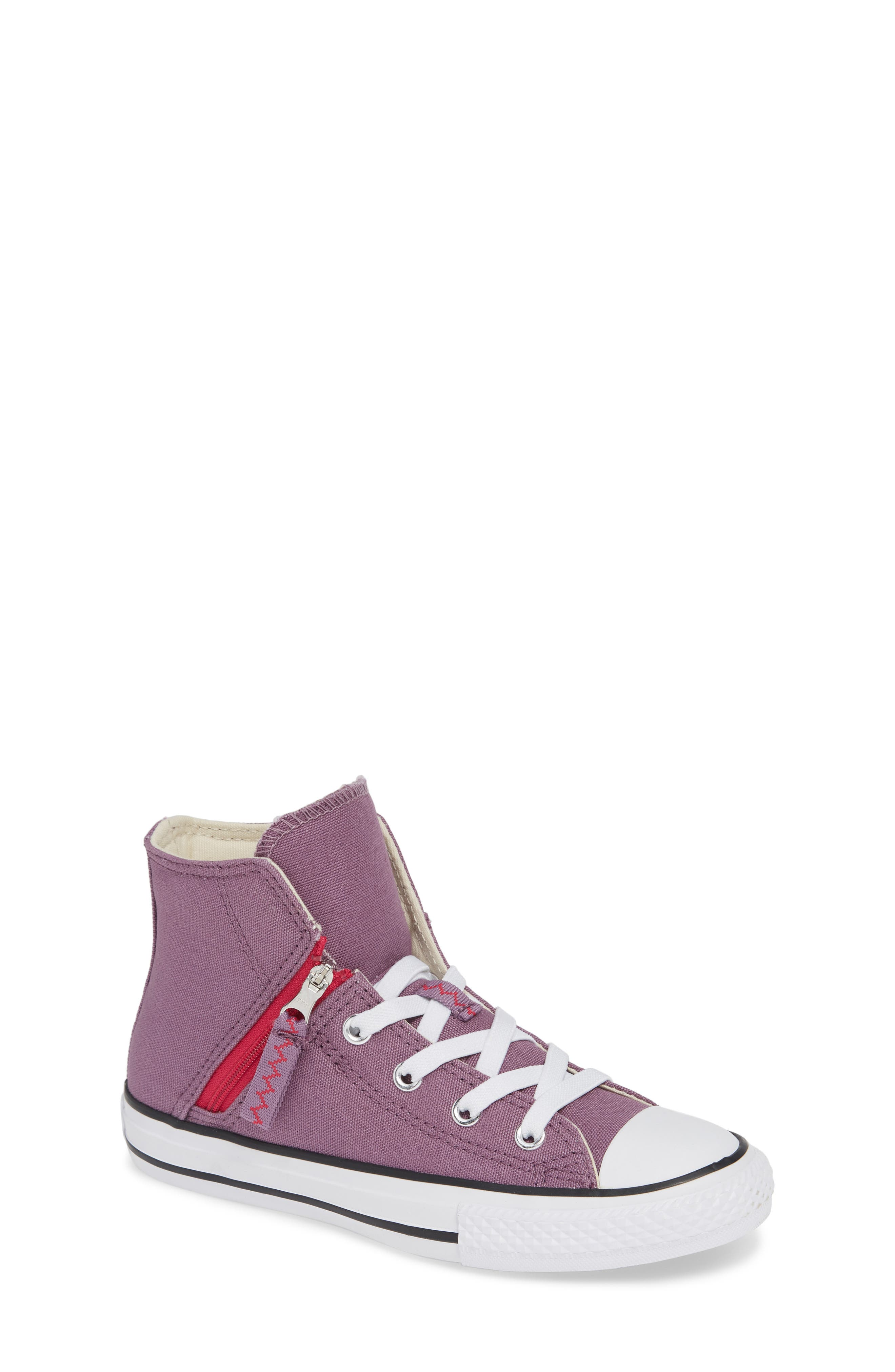 Chuck Taylor<sup>®</sup> All Star<sup>®</sup> Pull Zip High Top Sneaker,                         Main,                         color, Violet Dust
