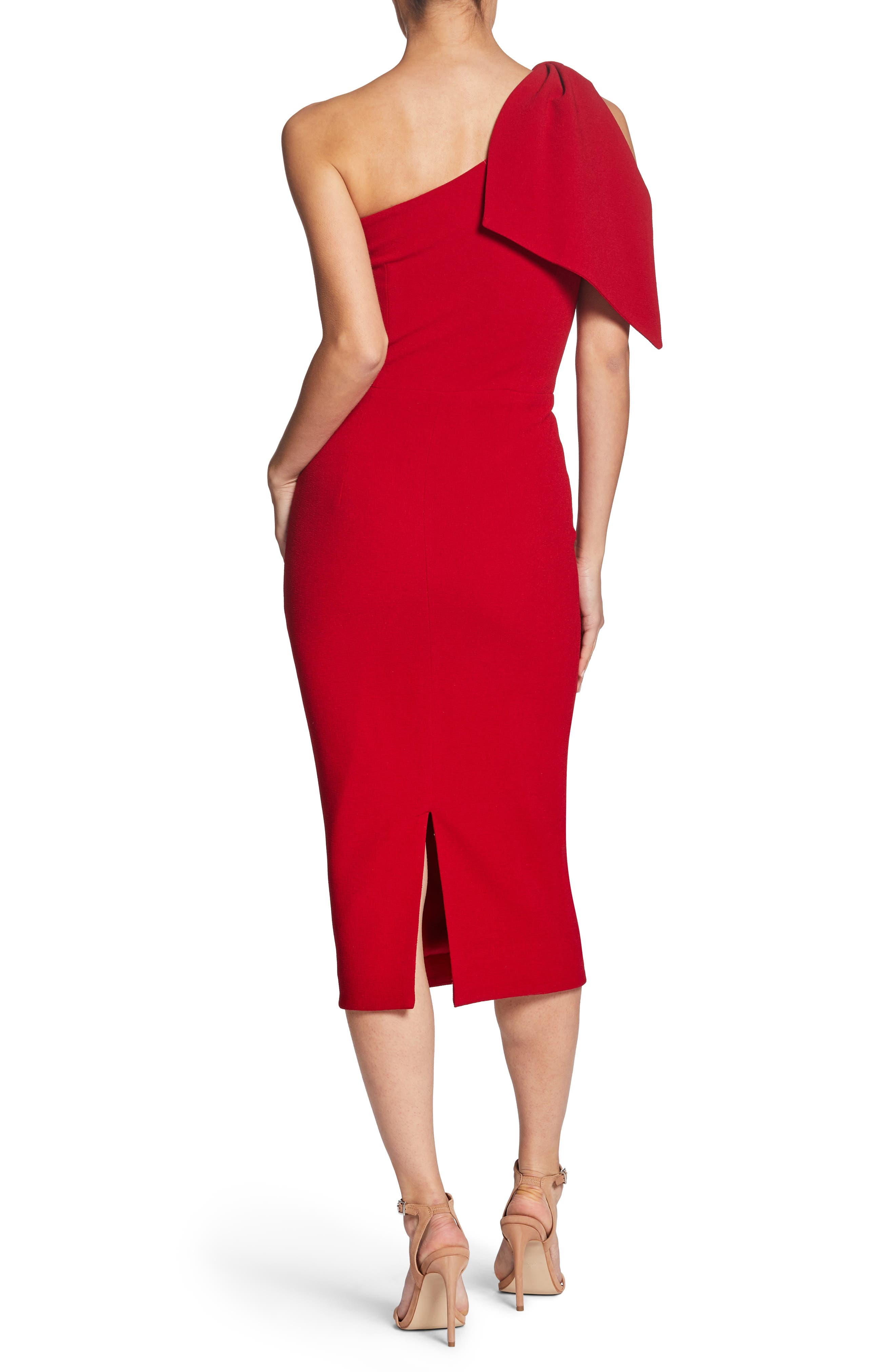 Tiffany One-Shoulder Midi Dress,                             Alternate thumbnail 2, color,                             Garnet